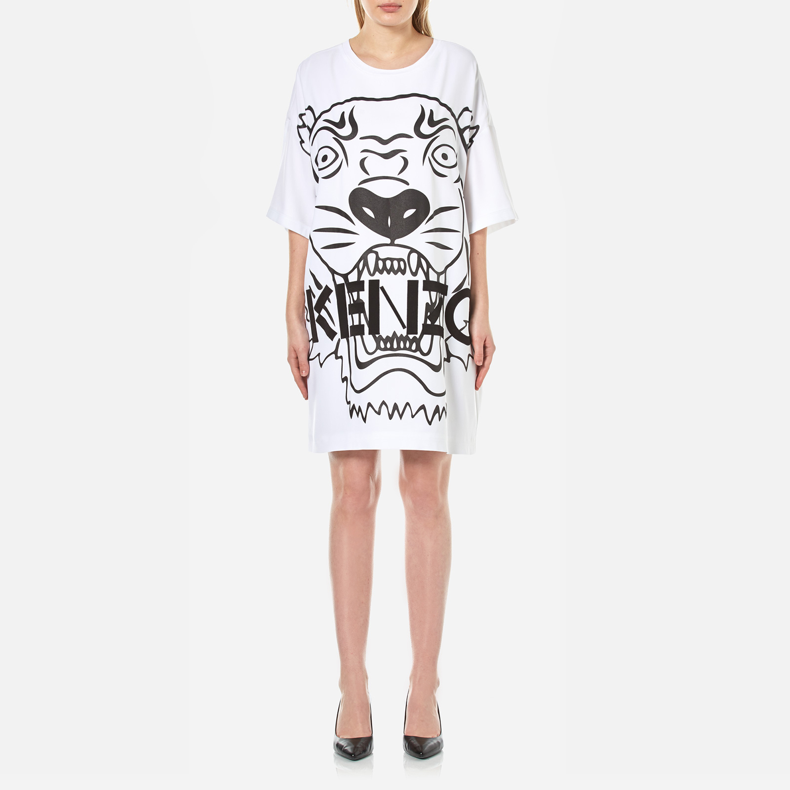 2b88c883d9bd KENZO Women's Crepe Back Satin Tiger T-Shirt Dress - White - Free UK  Delivery over £50