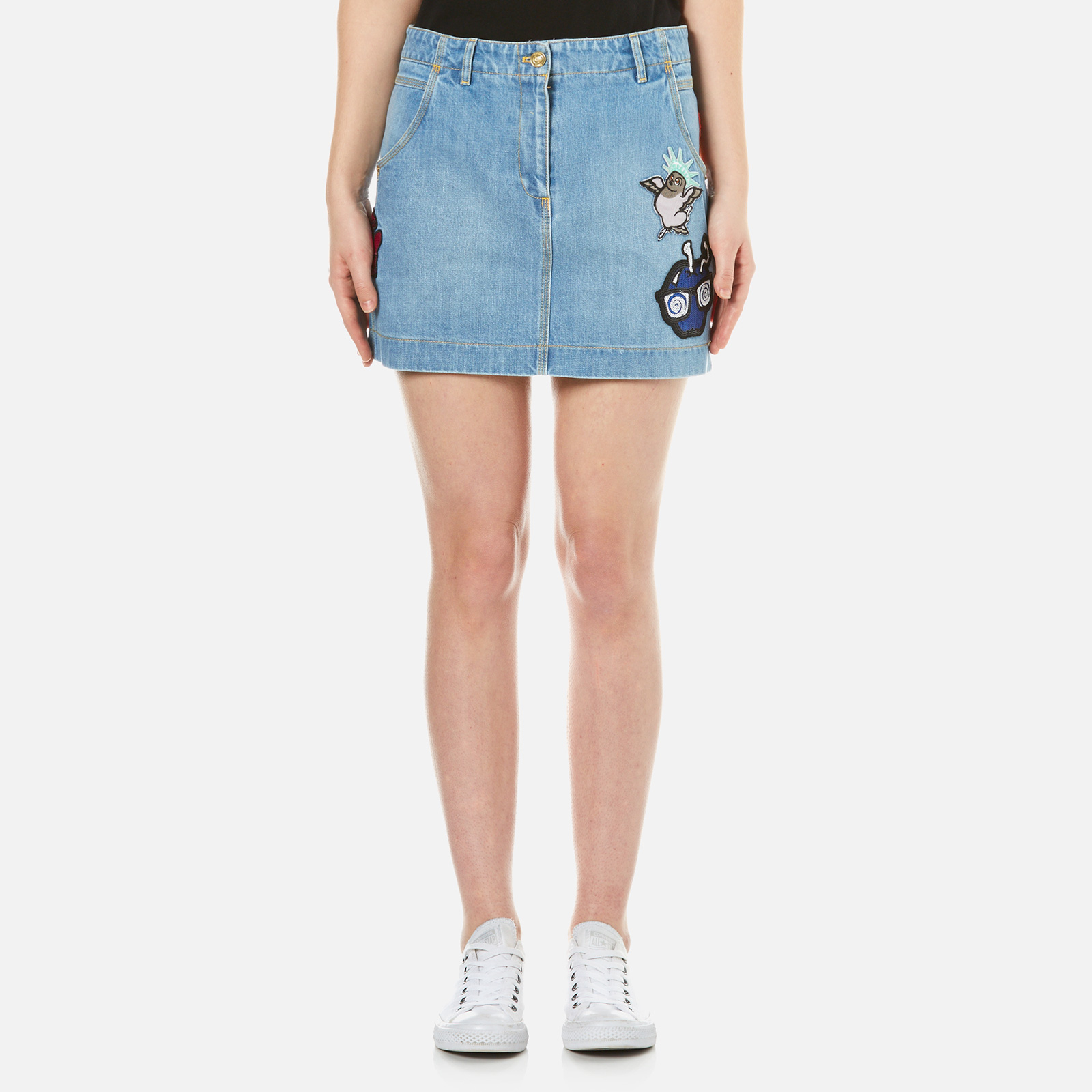 304a8452 KENZO Women's Stone Washed Denim Patchwork Skirt - Blue - Free UK Delivery  over £50