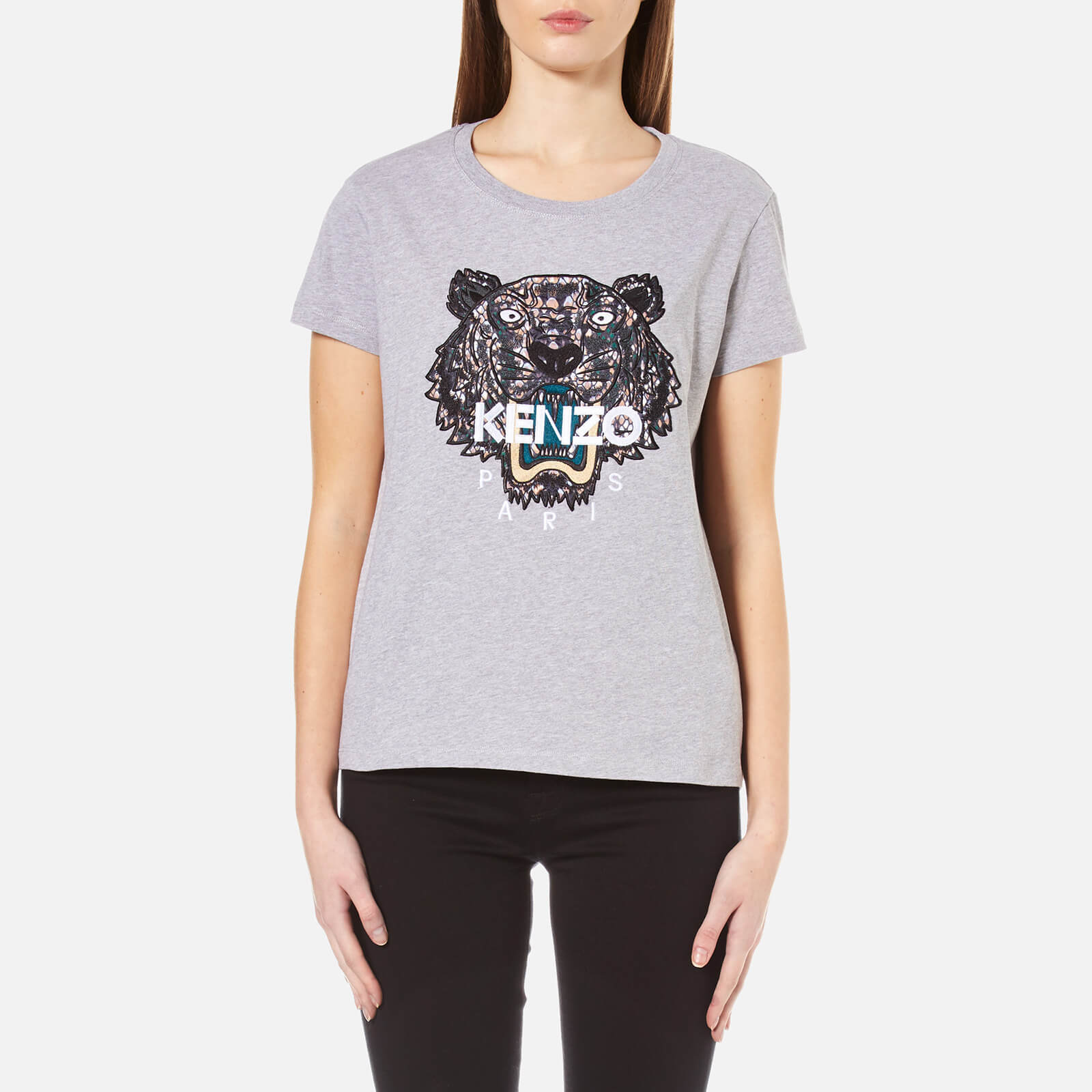 3dd9d0bac0ac KENZO Women's Snake X Tiger Embroidery T-Shirt - Grey - Free UK Delivery  over £50