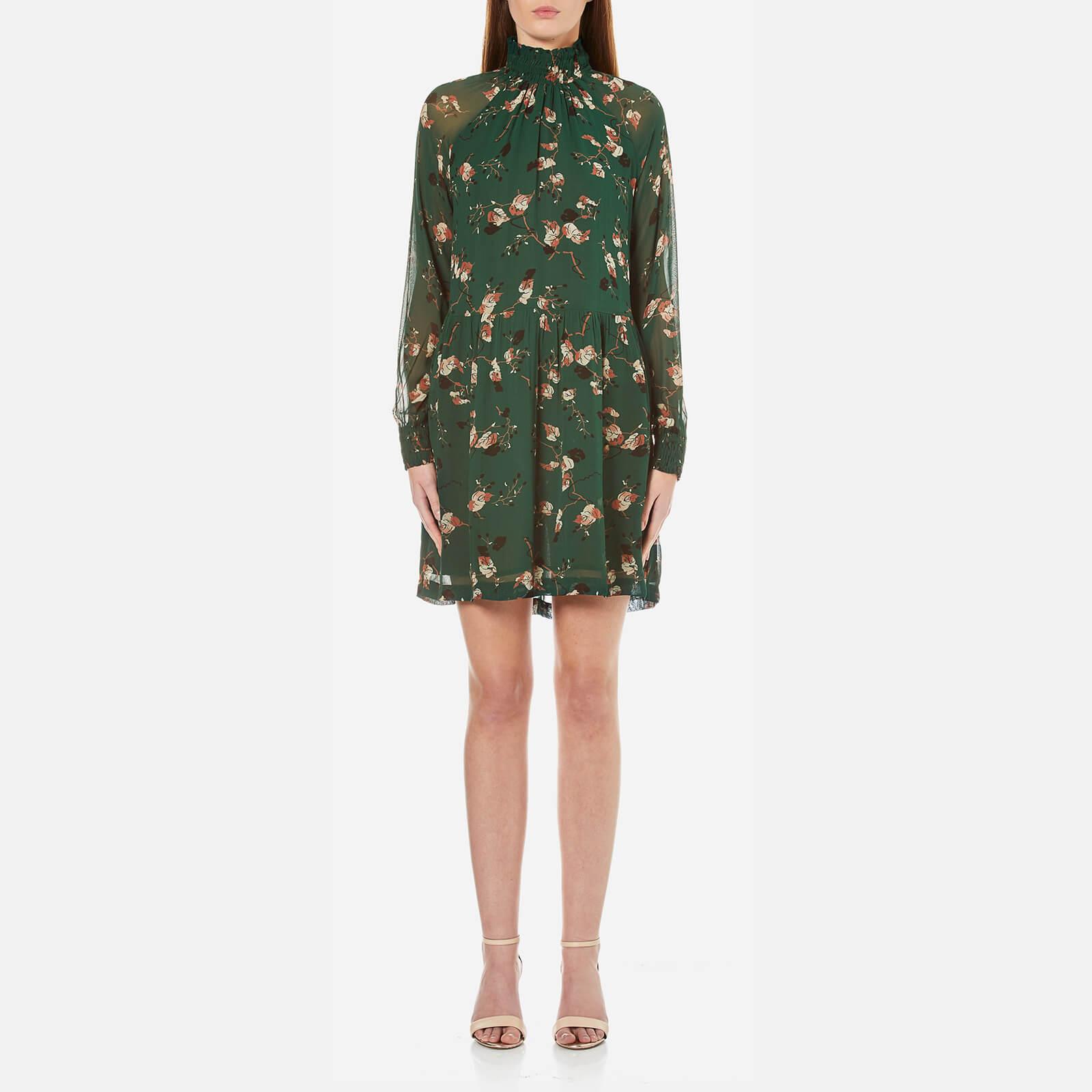 4fef407d Ganni Women's Marietta Georgette Dress - Pine Grove Leaves - Free UK  Delivery over £50