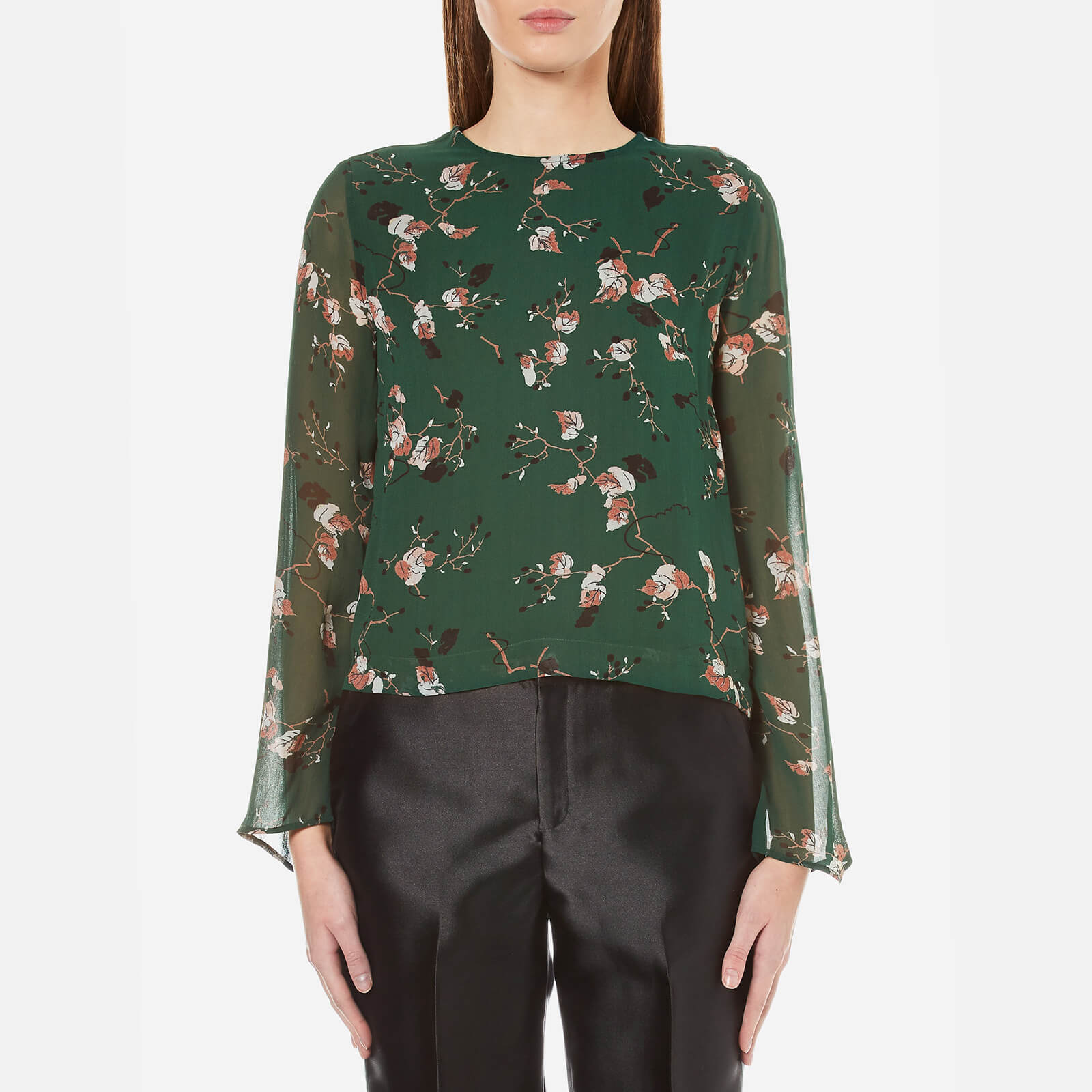 b845e757 Ganni Women's Marietta Georgette Long Sleeve Top - Pine Grove Leaves - Free  UK Delivery over £50