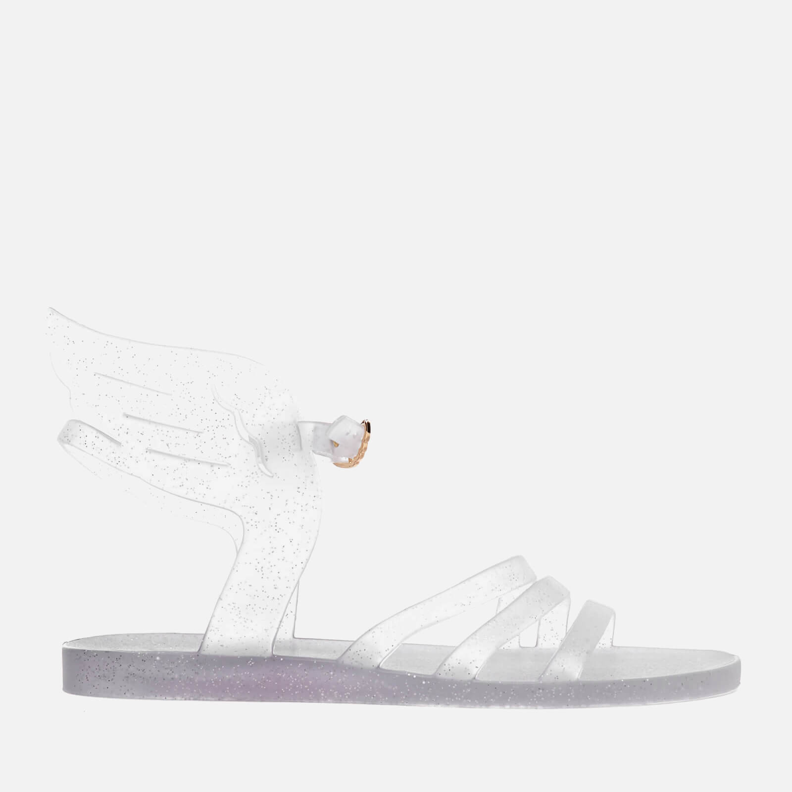 1214fc647a34 Ancient Greek Sandals Women s Ikaria Rubber Angel Jelly Sandals -  Clear Silver Glitter - Free UK Delivery over £50