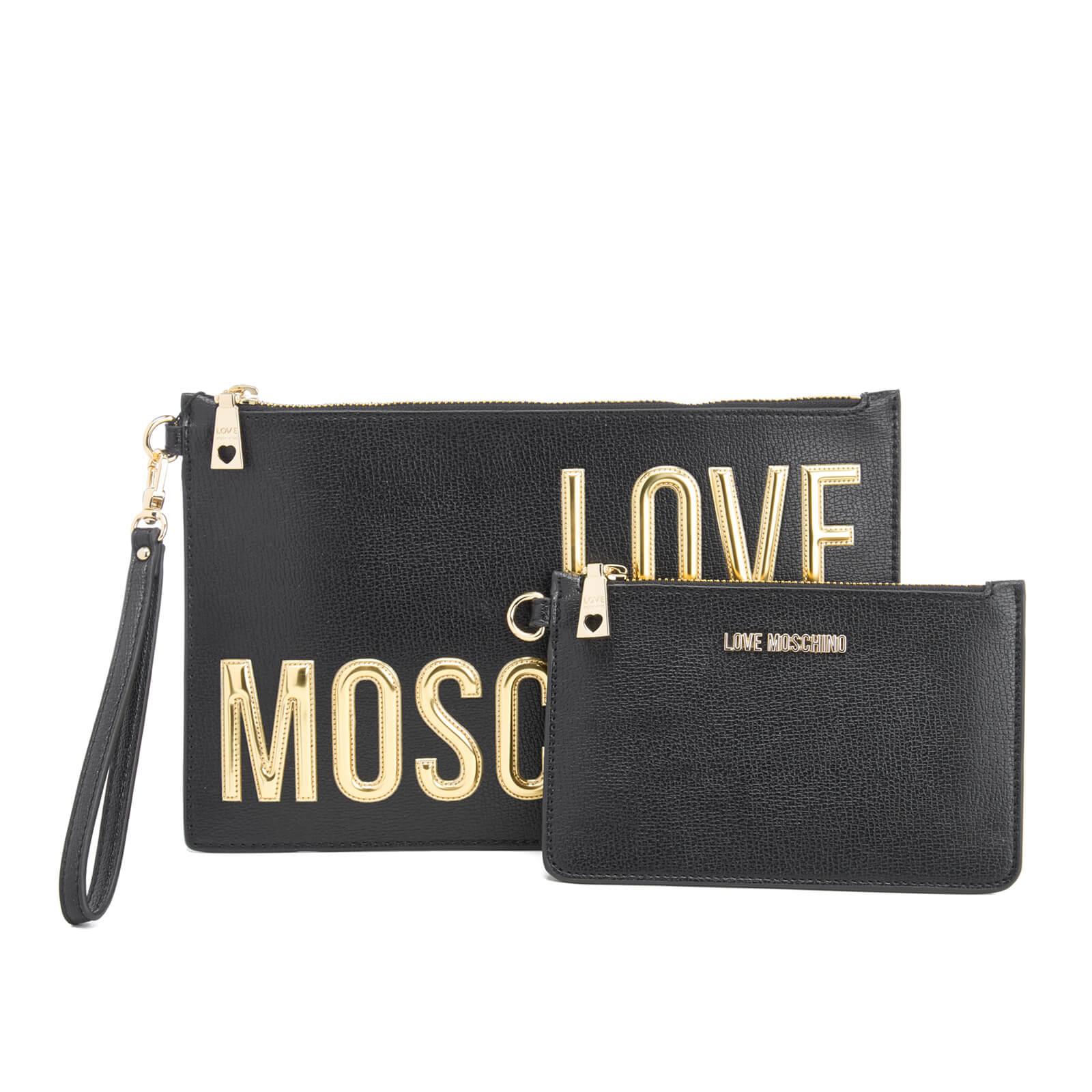Love Moschino Women s Logo Clutch Bag - Black - Free UK Delivery over £50 e05ef0e18be