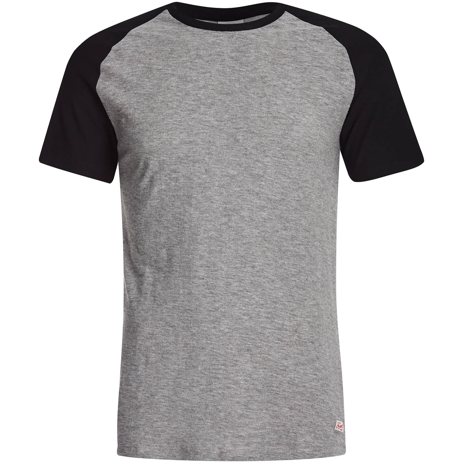T-Shirt Homme Originals Stan Raglan Manches Courtes Jack & Jones -Gris/Noir