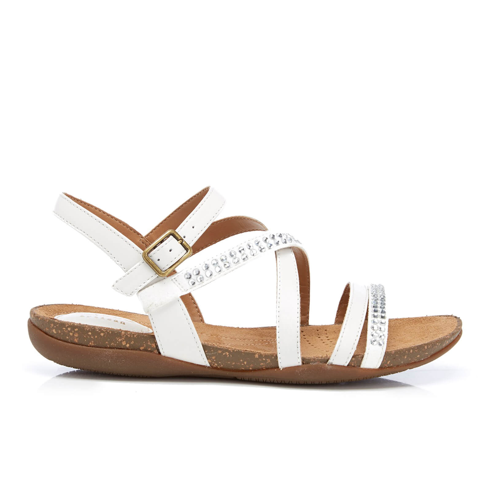 bf1f159882b97 Clarks Women's Autumn Peace Leather Strappy Sandals - White | FREE UK  Delivery | Allsole