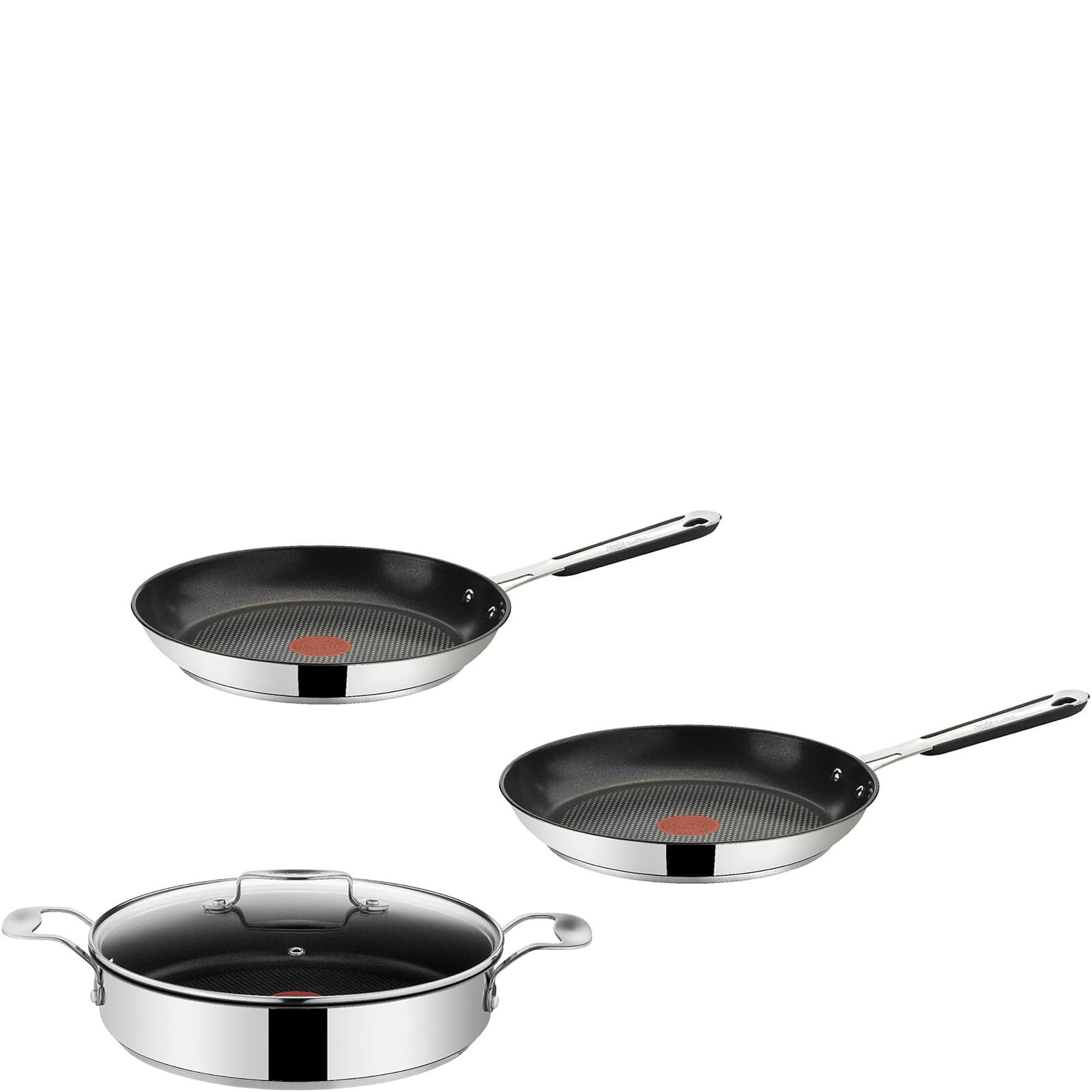 jamie oliver by tefal stainless steel 3 piece frying pan. Black Bedroom Furniture Sets. Home Design Ideas