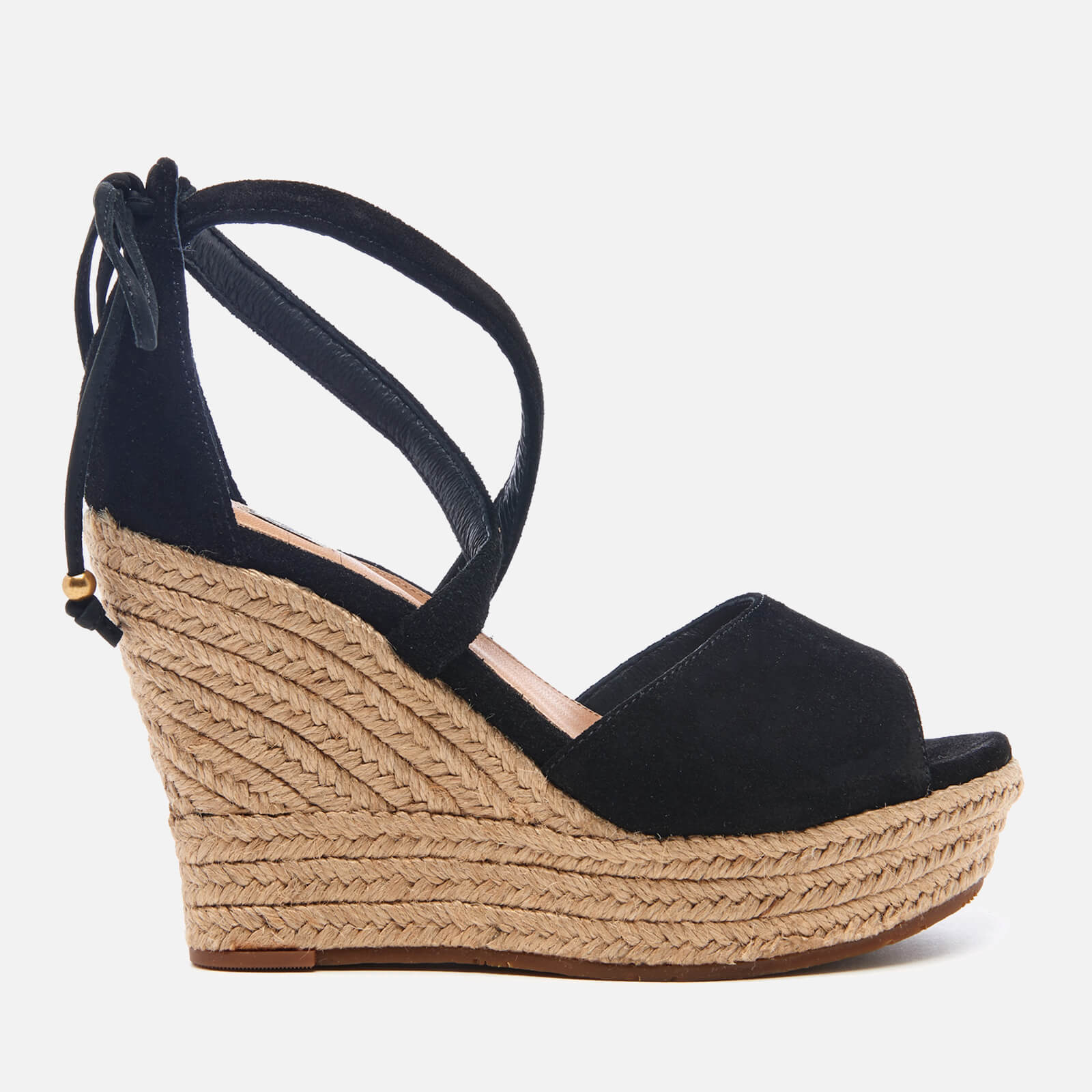 a56a3170e6b UGG Women's Reagan Suede Ankle Tie Jute Wedged Sandals - Black