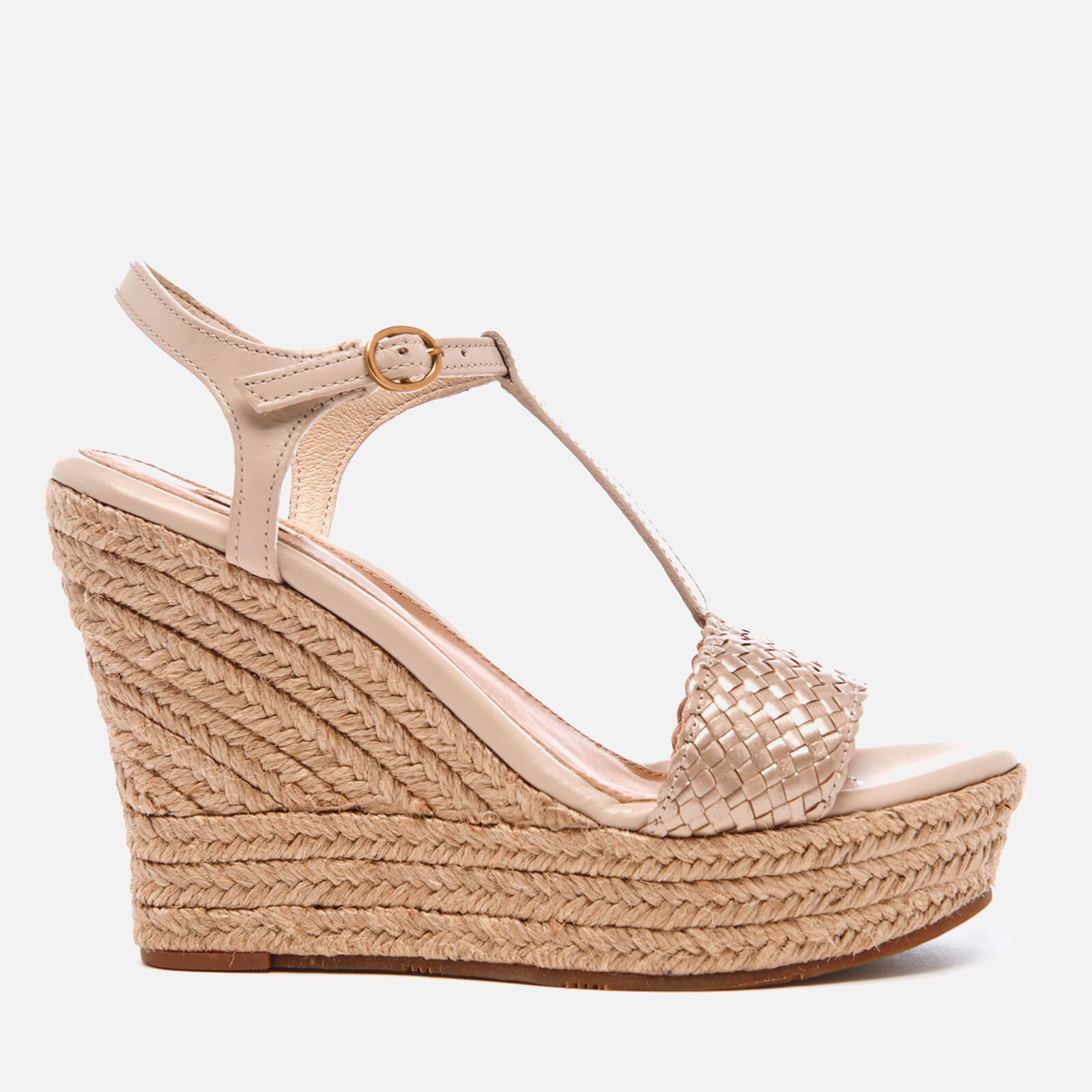 b75782f7d94 UGG Women's Fitchie II T-Strap Jute Wedged Espadrille Sandals - Soft Gold