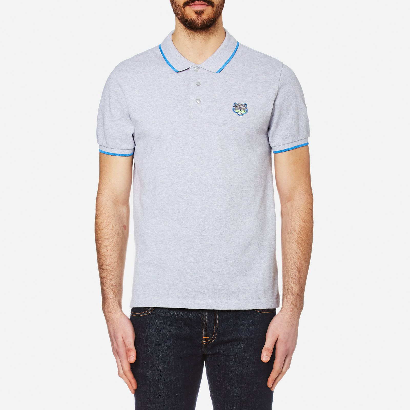 58ee7543af KENZO Men's Cotton Pique Tiger Polo Shirt - Pearl Grey - Free UK ...