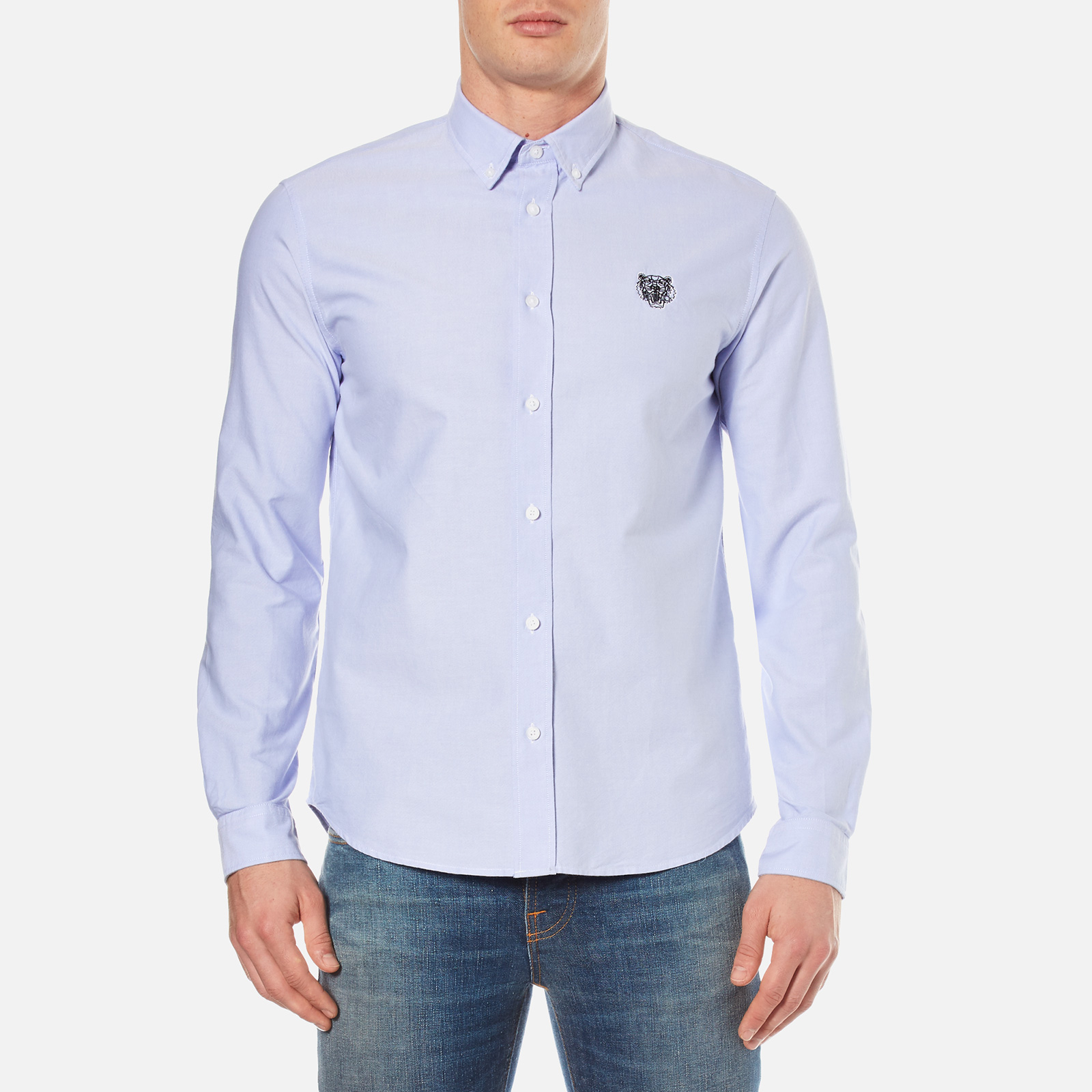f63254380 KENZO Men's Casual Fit Oxford Tiger Shirt - Sky Blue - Free UK Delivery  over £50