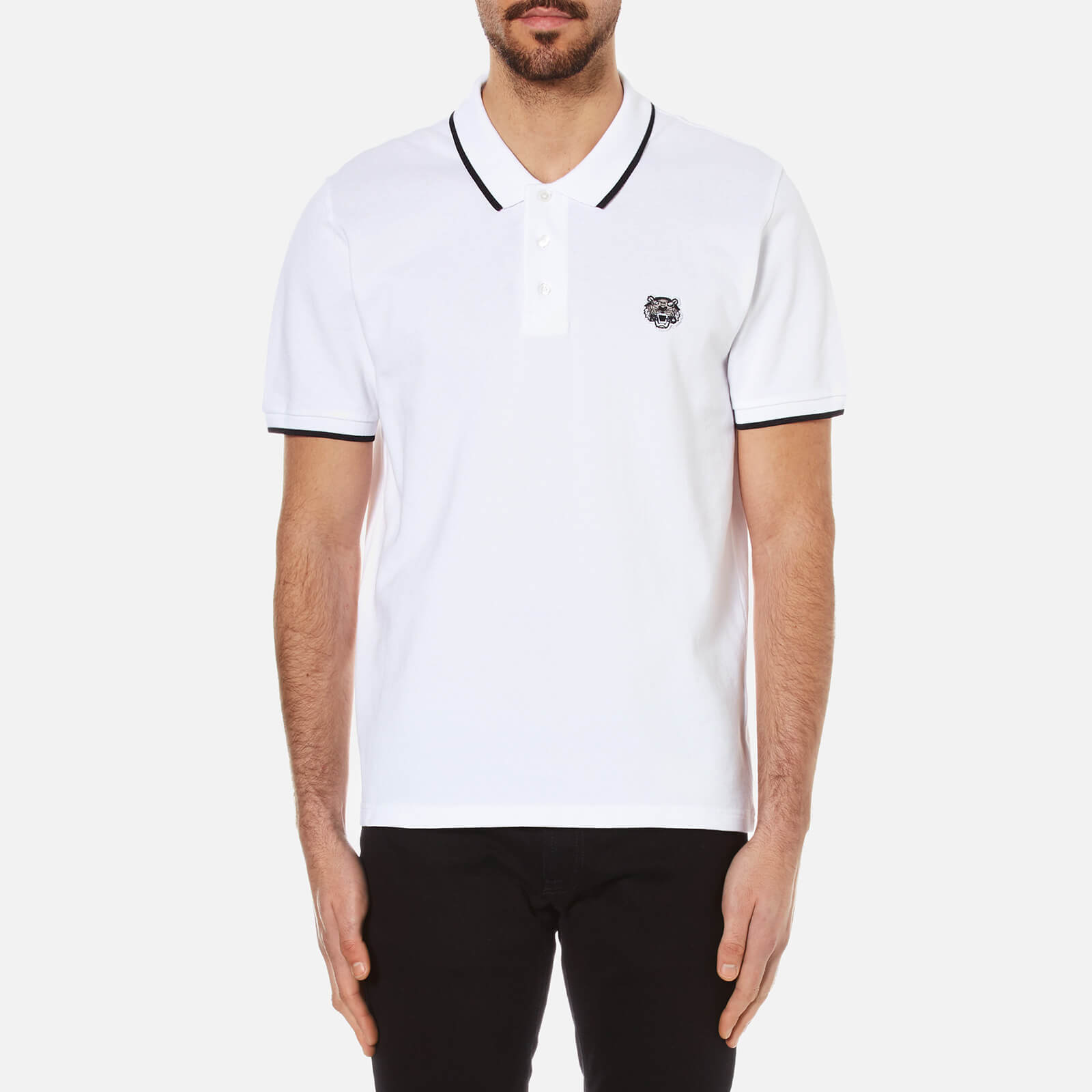 3c9811df692f KENZO Men's Pique Tiger Polo Shirt - White - Free UK Delivery over £50