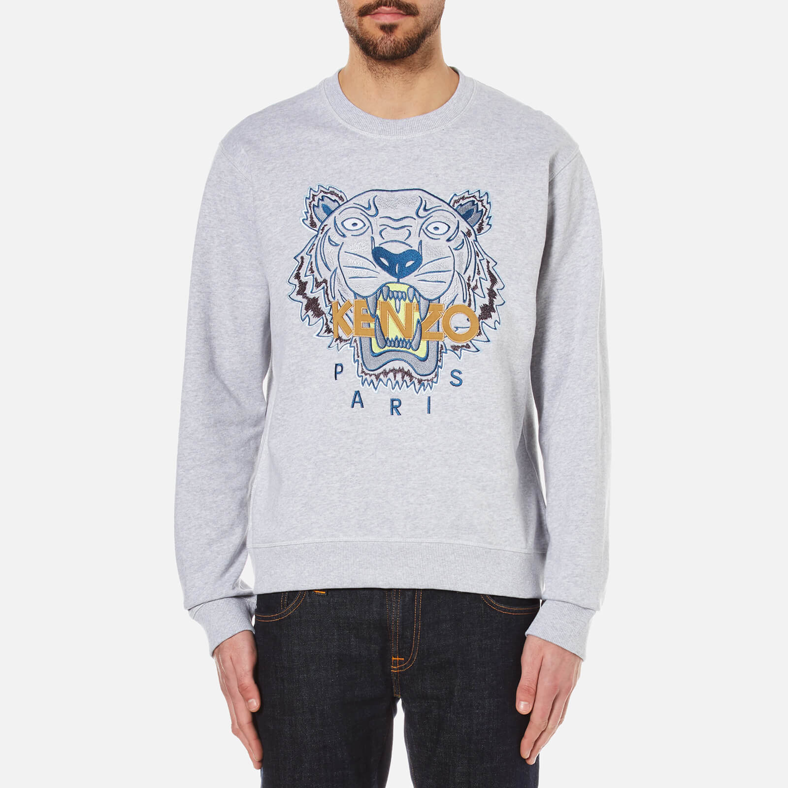 46f758e9227b KENZO Men s Embroidered Tiger Sweatshirt - Pearl Grey - Free UK Delivery  over £50