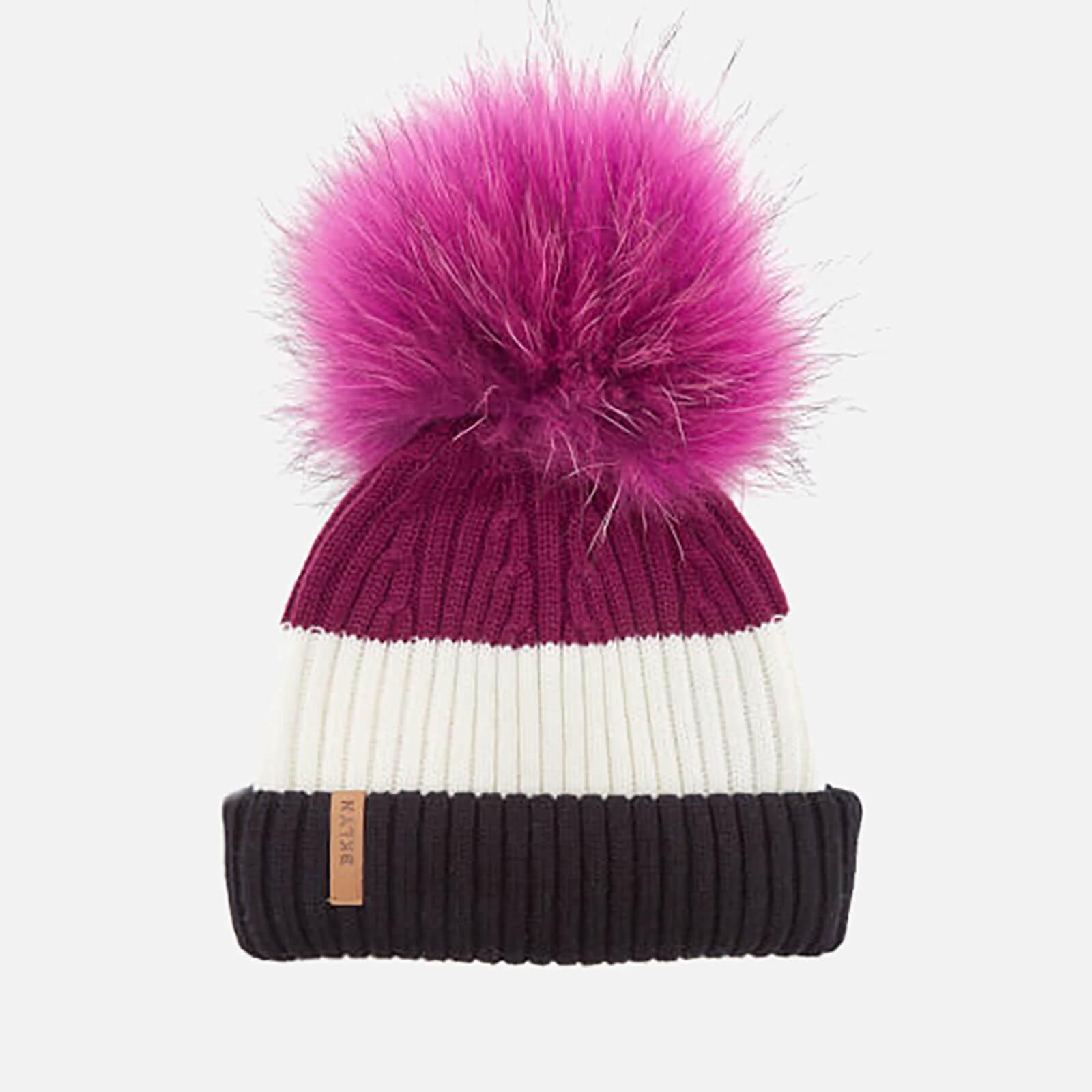 9768ec9a1 BKLYN Women's Merino Wool Hat with Fuchsia Pink Pom Pom - Black/White/Wine