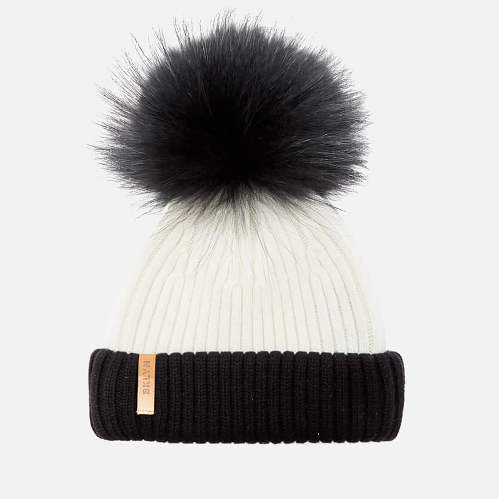 50d525da4 BKLYN Women's Merino Wool Hat with Black Pom Pom - White/Black