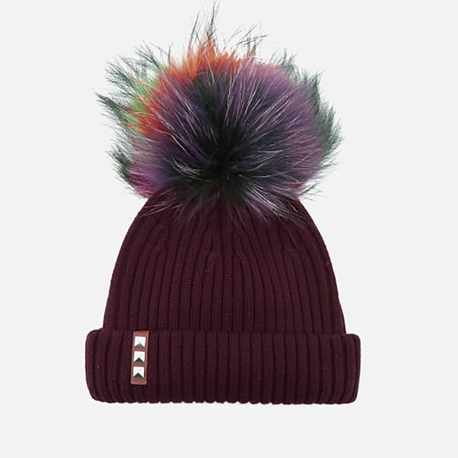 68eae1bdf2a BKLYN Women s Merino Wool Hat with Rainbow Pom Pom - Maroon - Free ...