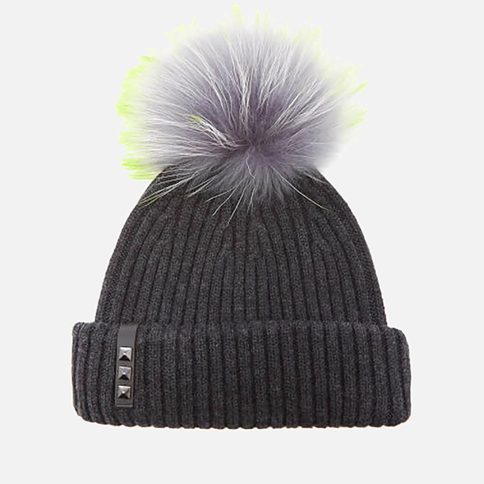 365f01a74fab3 BKLYN Women s Merino Wool Hat with Grey Lime Pom Pom - Charcoal Womens  Accessories