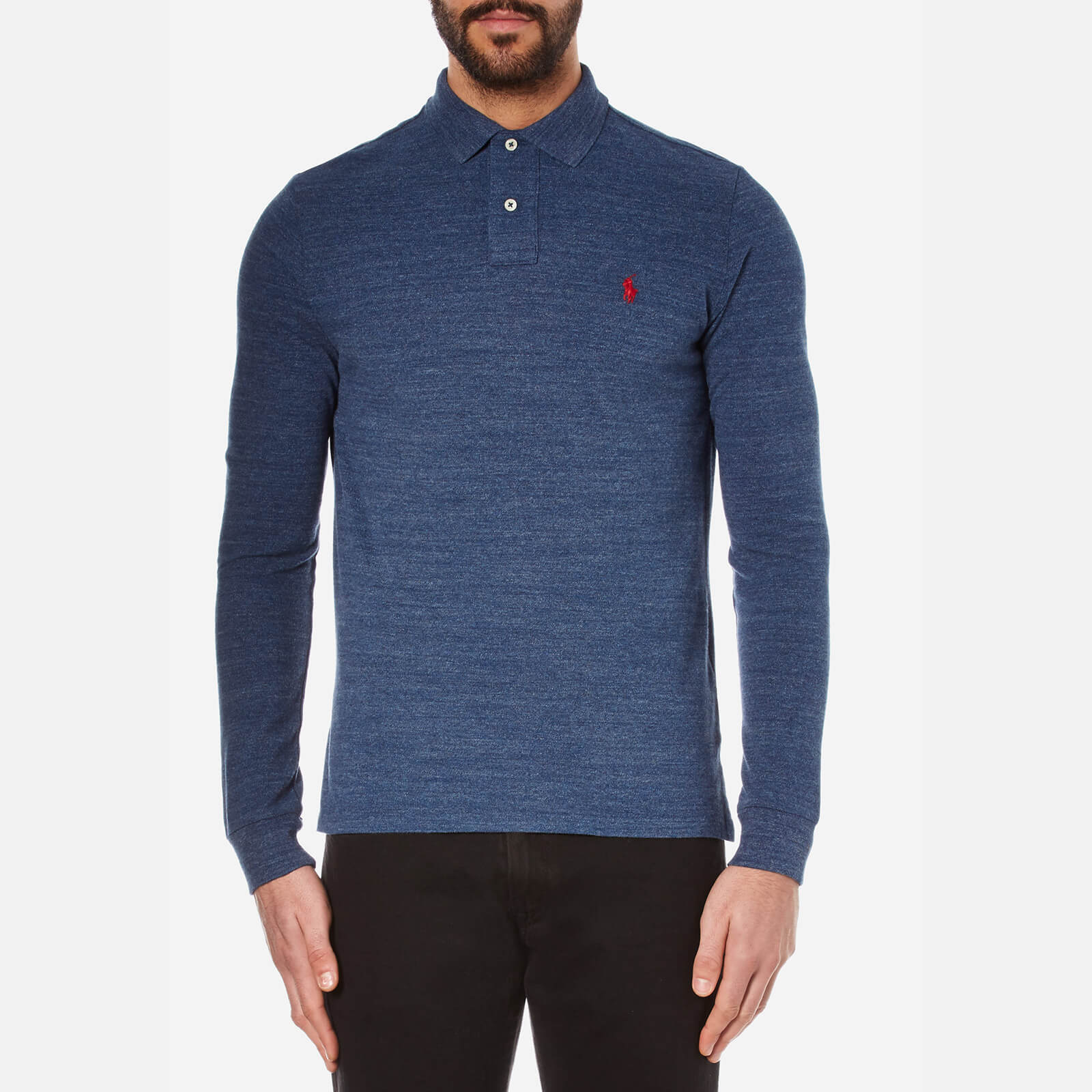 f5b43410fce2f Polo Ralph Lauren Men s Custom Fit Long Sleeve Polo Shirt - Classic Royal  Heather - Free UK Delivery over £50
