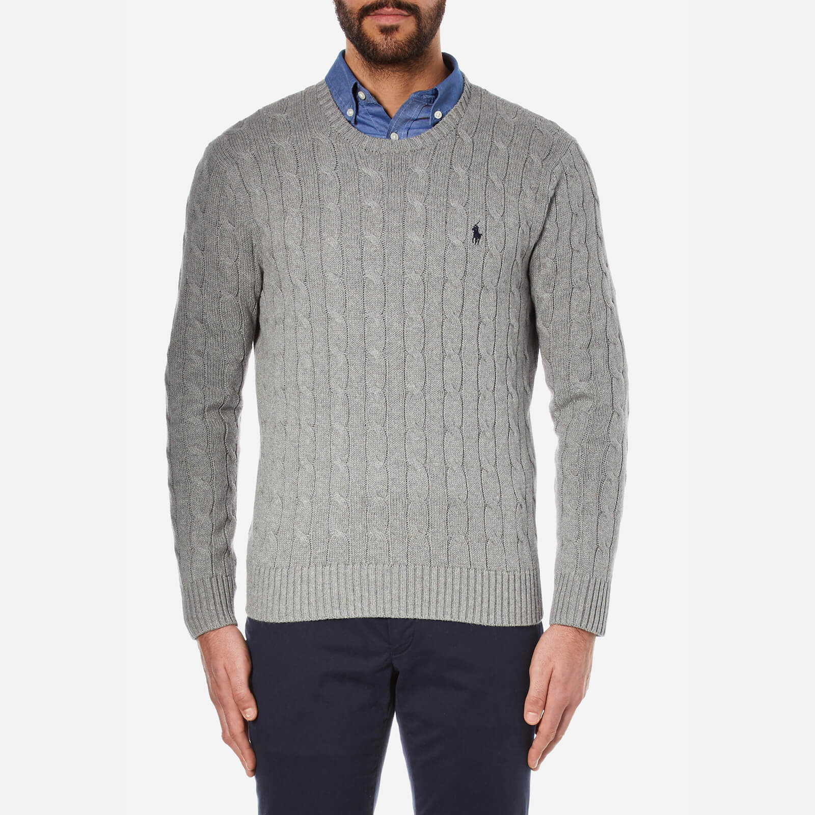 promo codes detailed look new york Polo Ralph Lauren Men's Cable Knit Jumper - Fawn Grey Heather