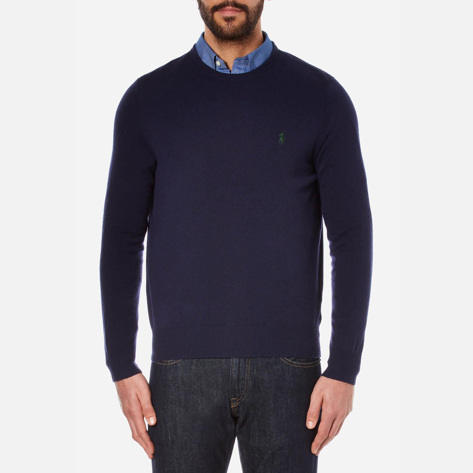 ea09315f35279 Polo Ralph Lauren Men s Long Sleeve Merino Knit Jumper - Hunter Navy - Free  UK Delivery over £50