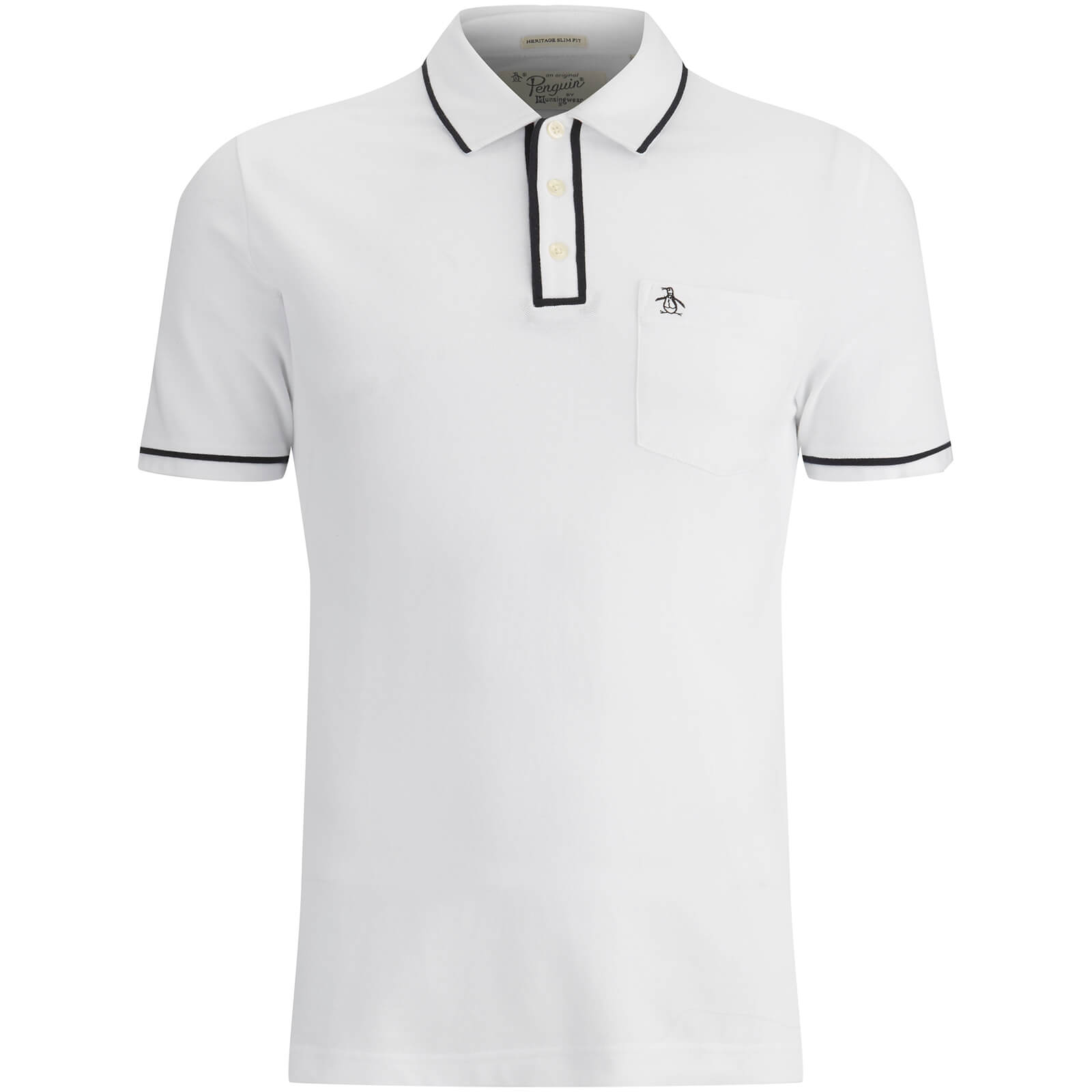 Original Penguin Mens Earl Tipped Polo Shirt White Clothing Zavvi