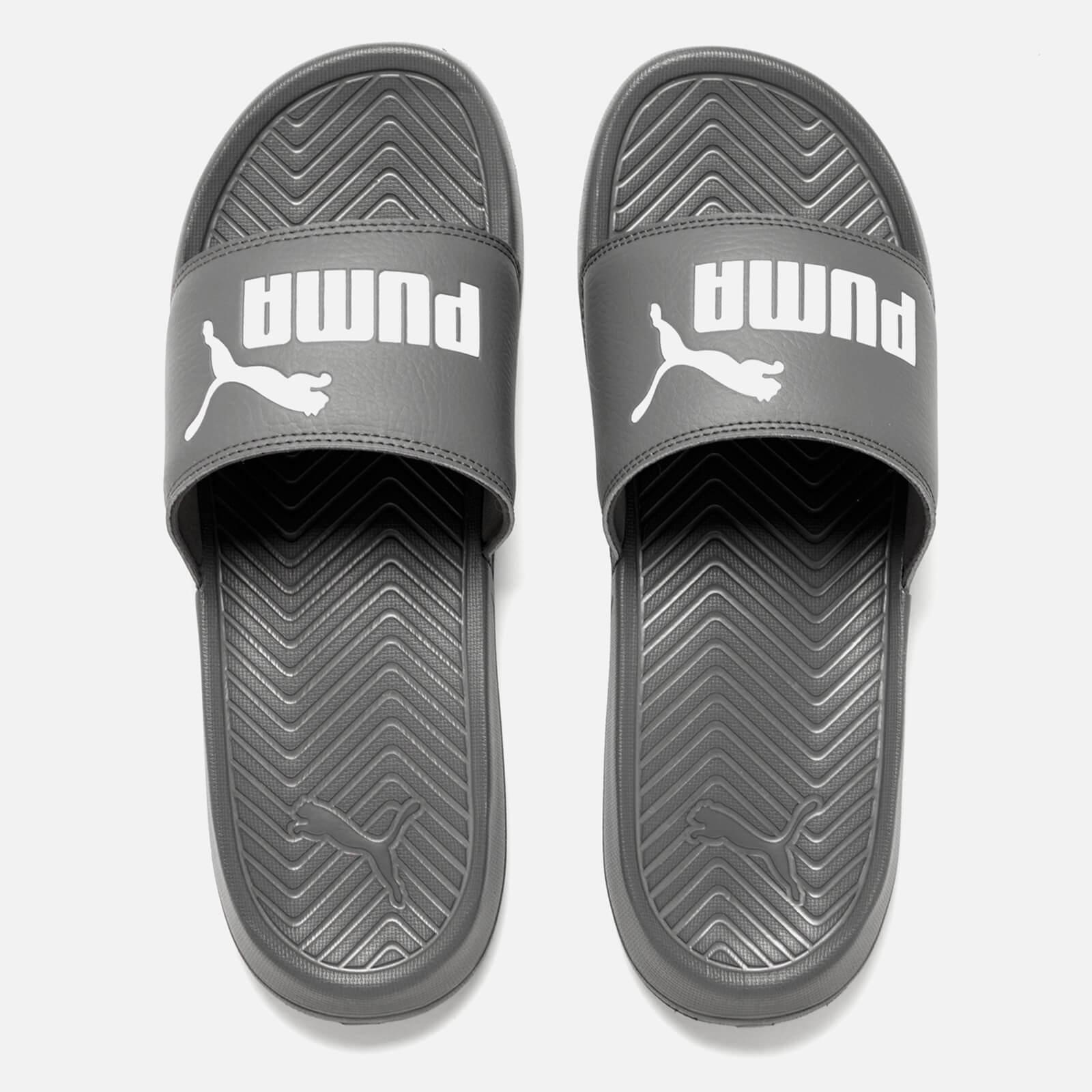 grey puma sandals