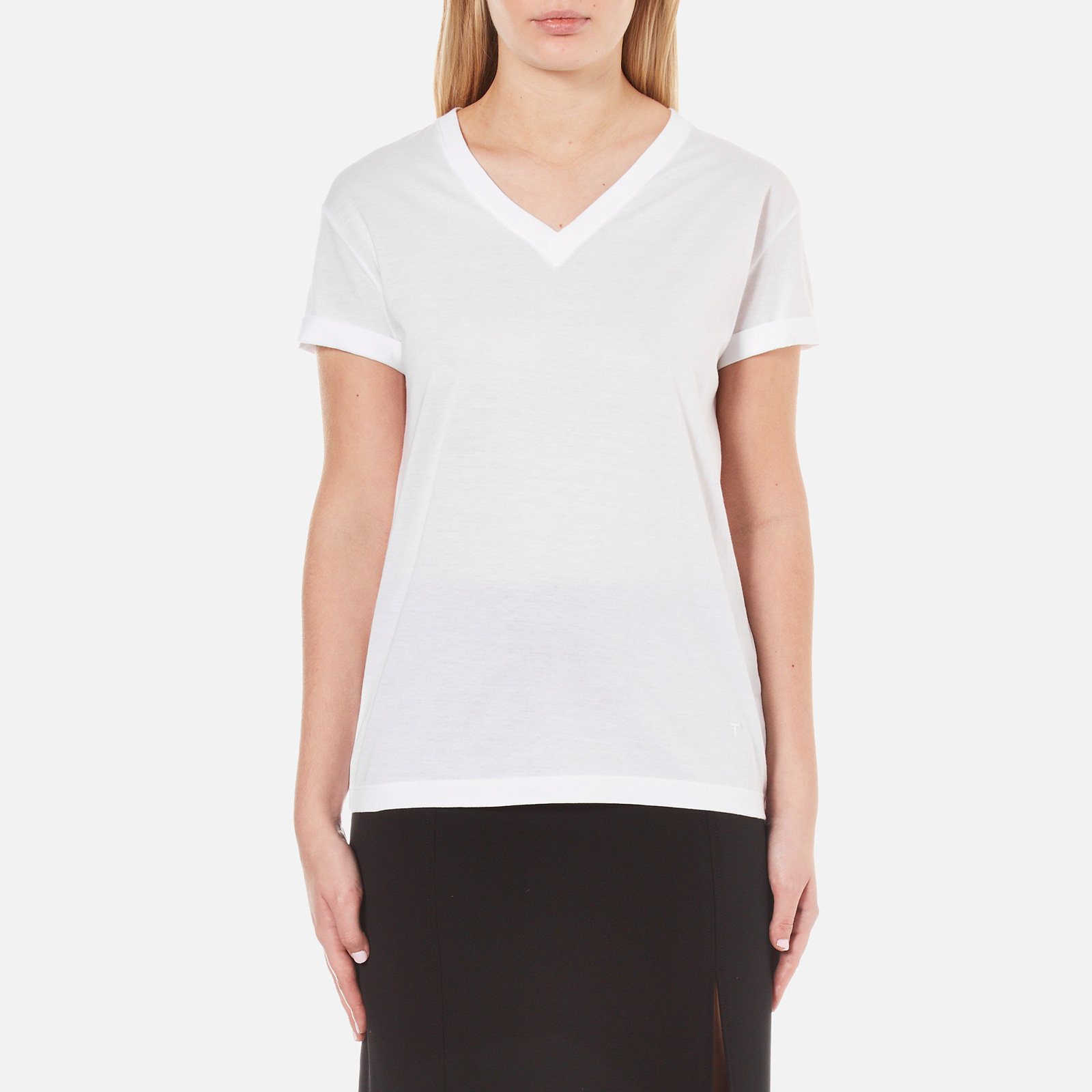 cceca88d4e77 T by Alexander Wang Women's Superfine Jersey Short Sleeve V Neck T-Shirt -  White - Free UK Delivery over £50