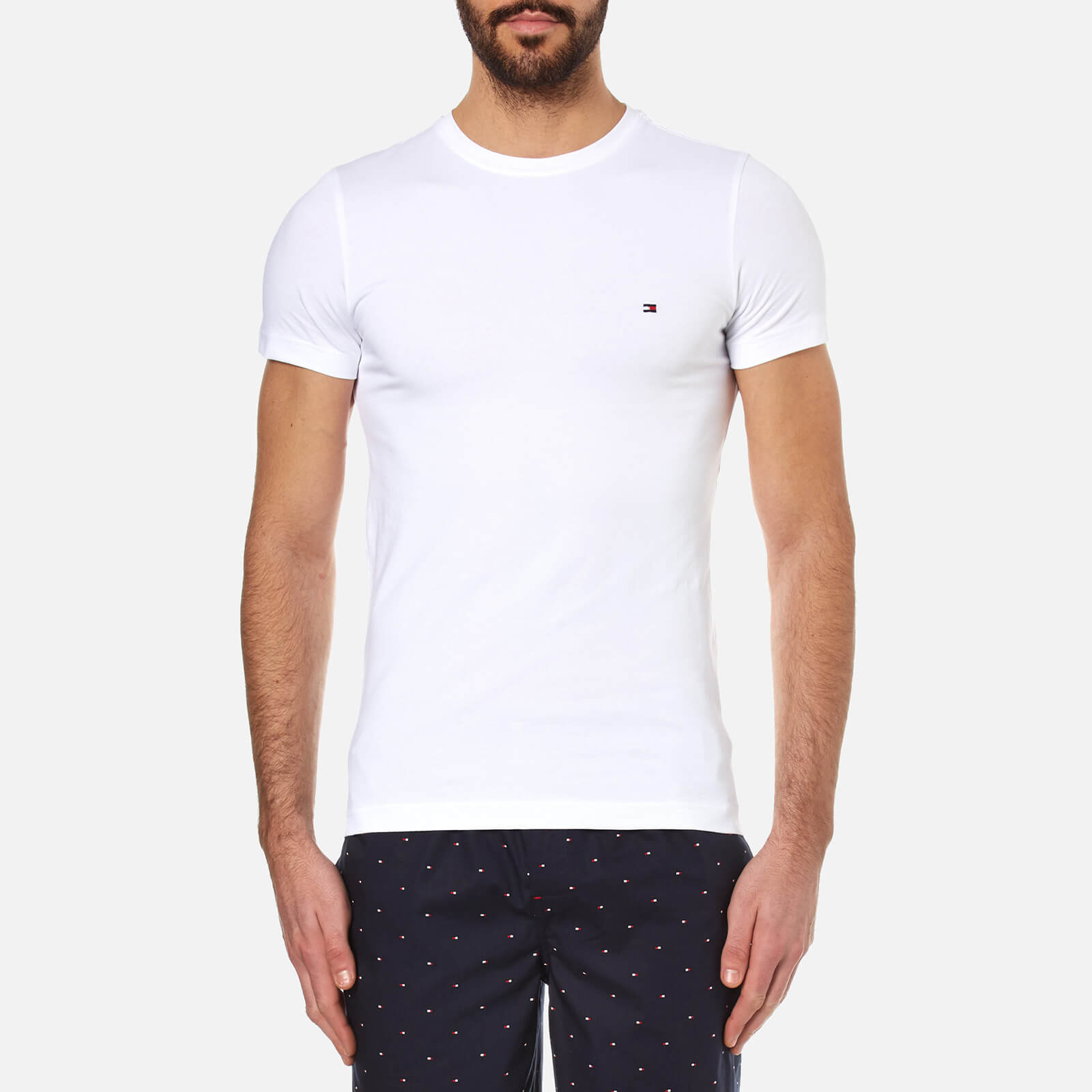 4ae44b8d Tommy Hilfiger Men's New Stretch Crew Neck T-Shirt - Classic White Clothing  | TheHut.com