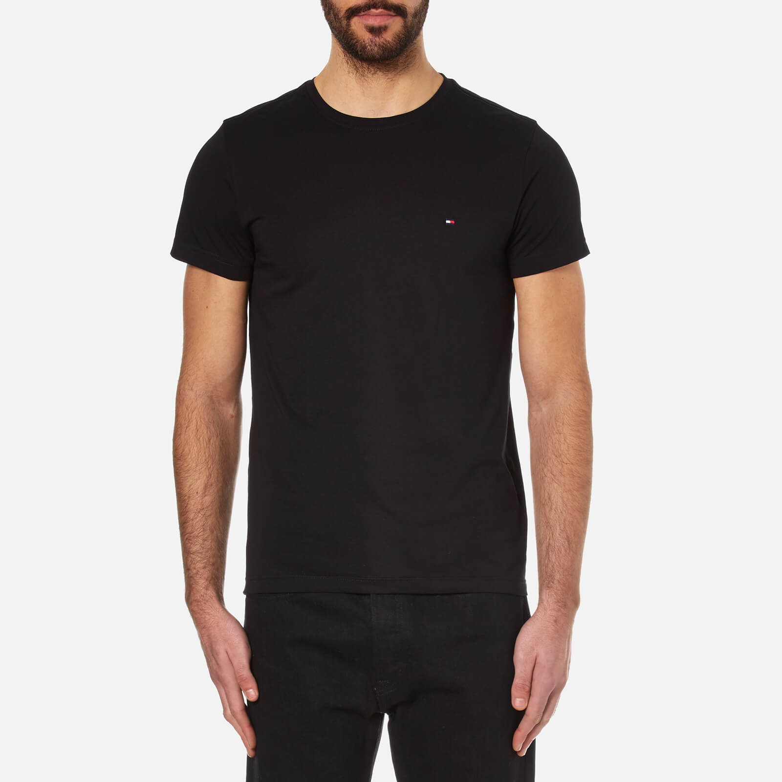 6986e814c Tommy Hilfiger Men's New Stretch Crew Neck T-Shirt - Flag Black Clothing |  TheHut.com