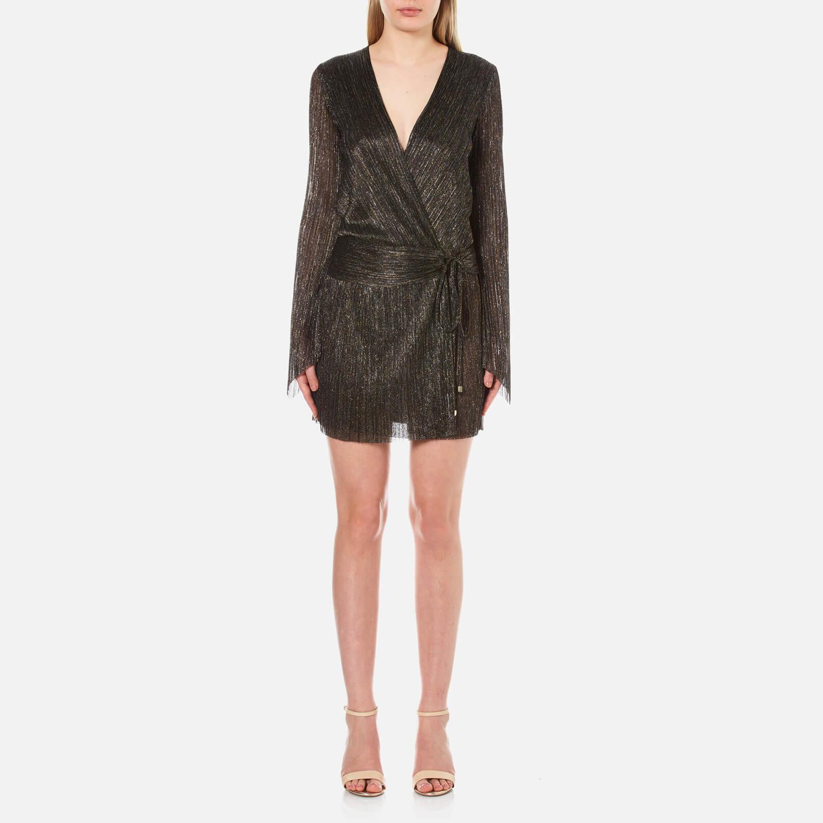e4a548ab Bec & Bridge Women's Glitter Rain Long Sleeve Dress - Gold/Silver Black -  Free UK Delivery over £50