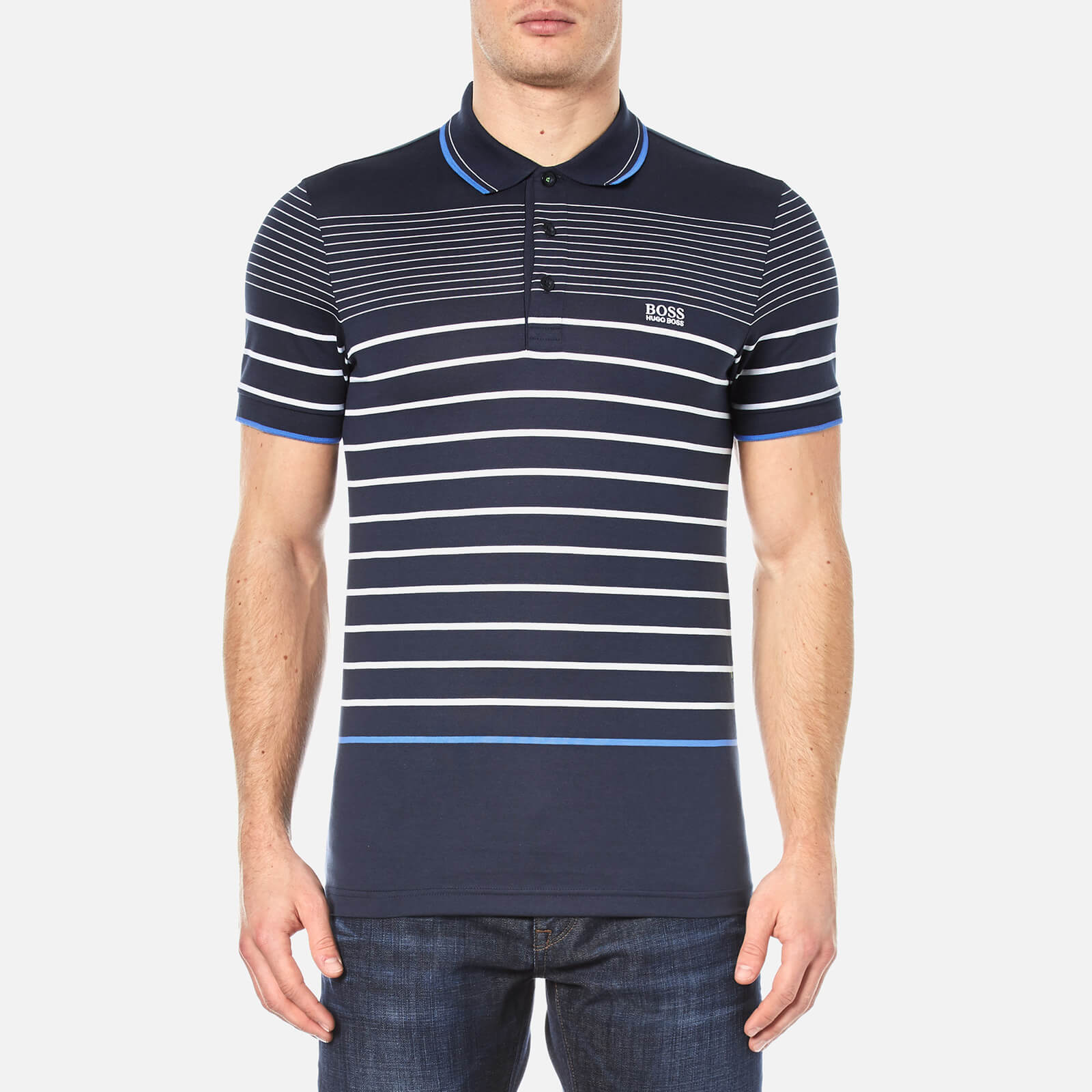 f8eab50c BOSS Green Men's Paule 2 Stripe Polo Shirt - Navy Clothing | TheHut.com
