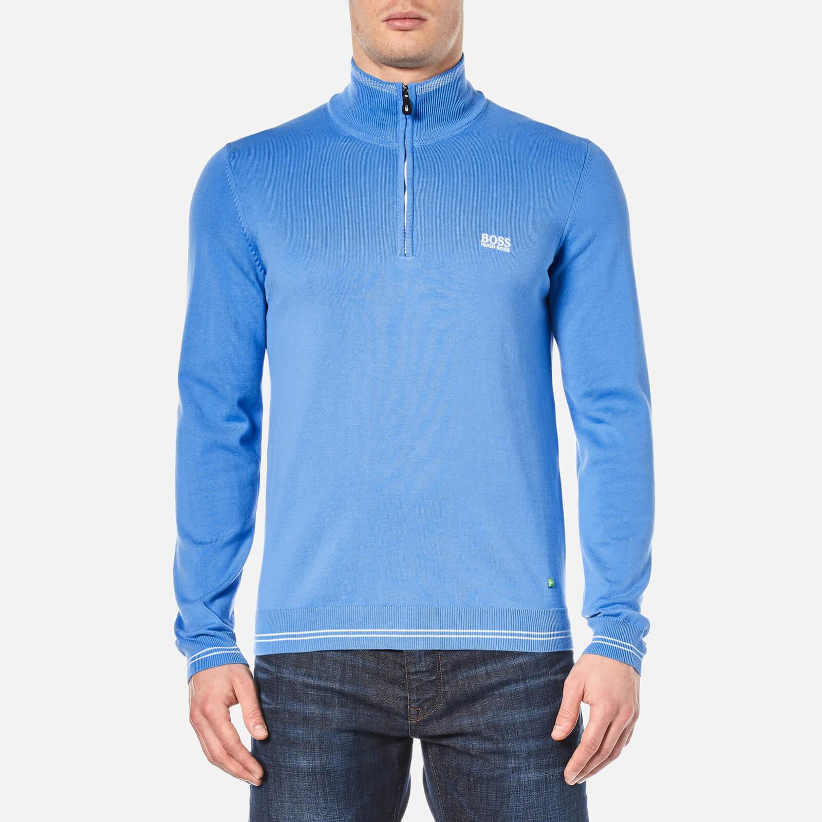 70946fd98bb BOSS Green Men's Zime Half Zip Knitted Jumper - Medium Blue
