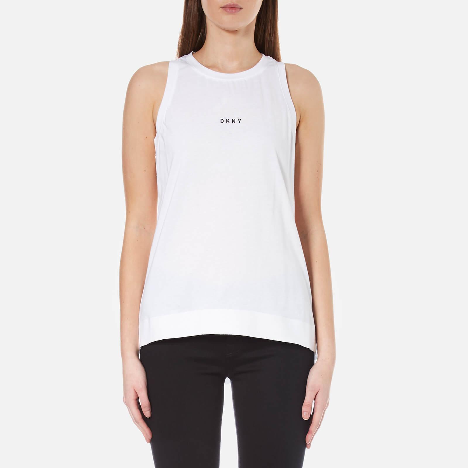 4760de5bf79ff2 DKNY Women s Sleeveless Crew Neck Tank with Bonded Hems and Logo - White  Clothing