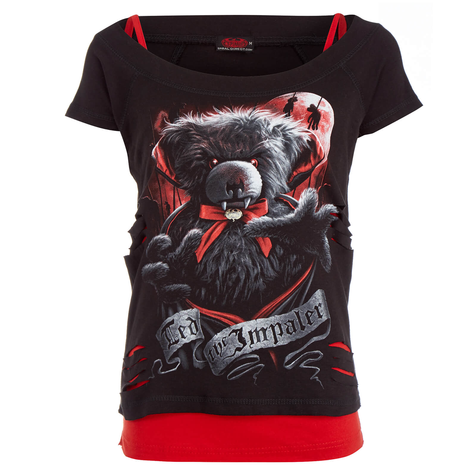 Spiral Womens Ted The Impaler 2 In 1 Ripped Top Black Red Minyak Wangi Gatsby Splash Cologne 175 Ml Product Details