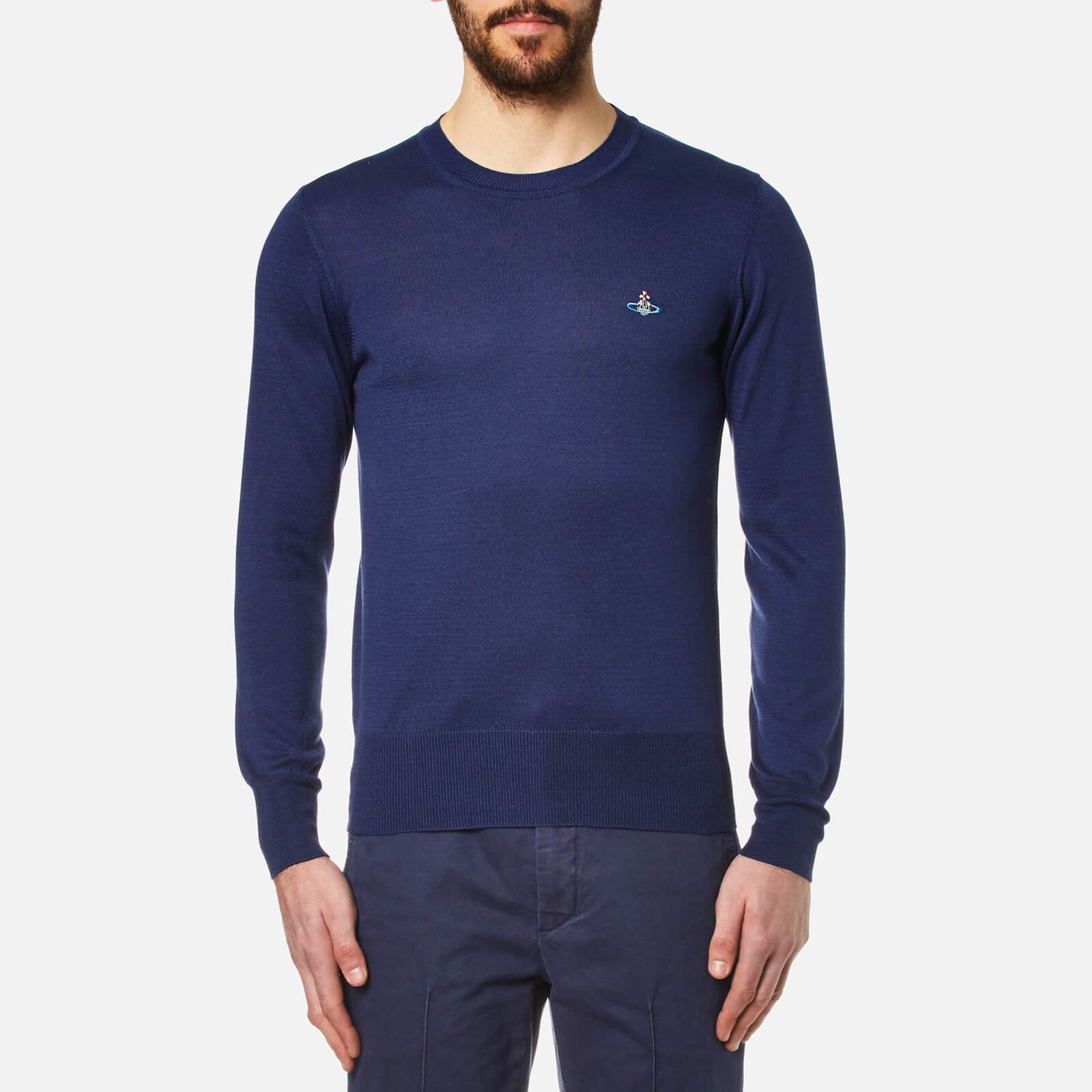 493b2e4d64 Vivienne Westwood Men's Crew Neck Classic Knitted Jumper - Blue - Free UK  Delivery over £50