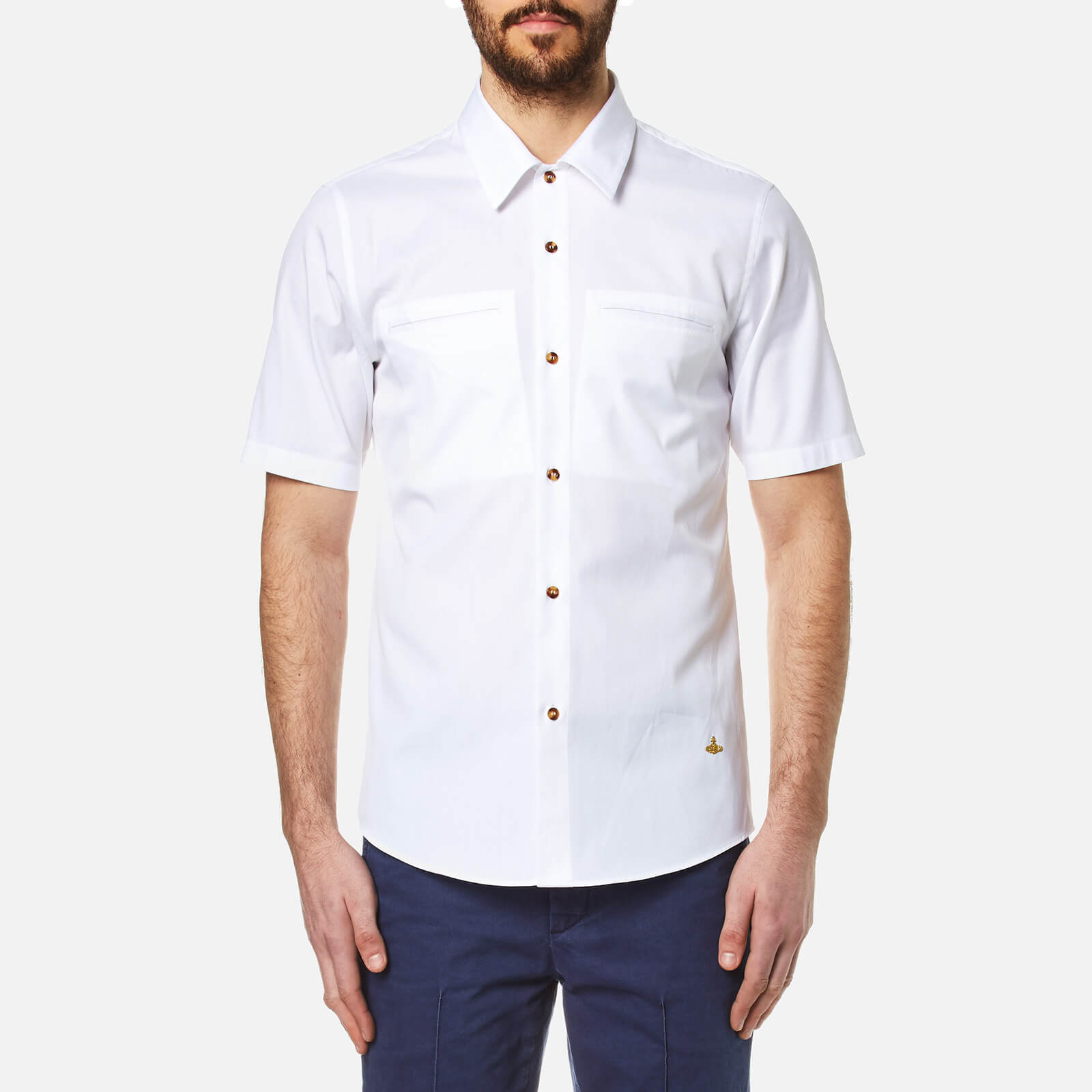 83402e80be583 Vivienne Westwood Men s Classic Oxford Short Sleeve Shirt - White - Free UK  Delivery over £50