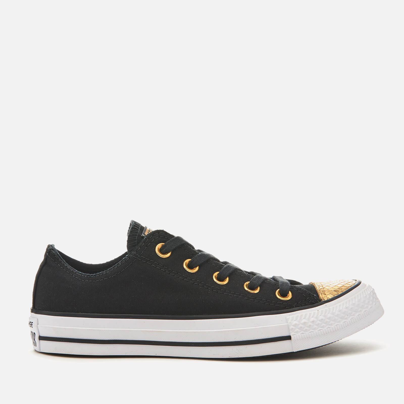 f8dad1125625 Converse Women s Chuck Taylor All Star Ox Trainers - Black Gold White -  Free UK Delivery over £50