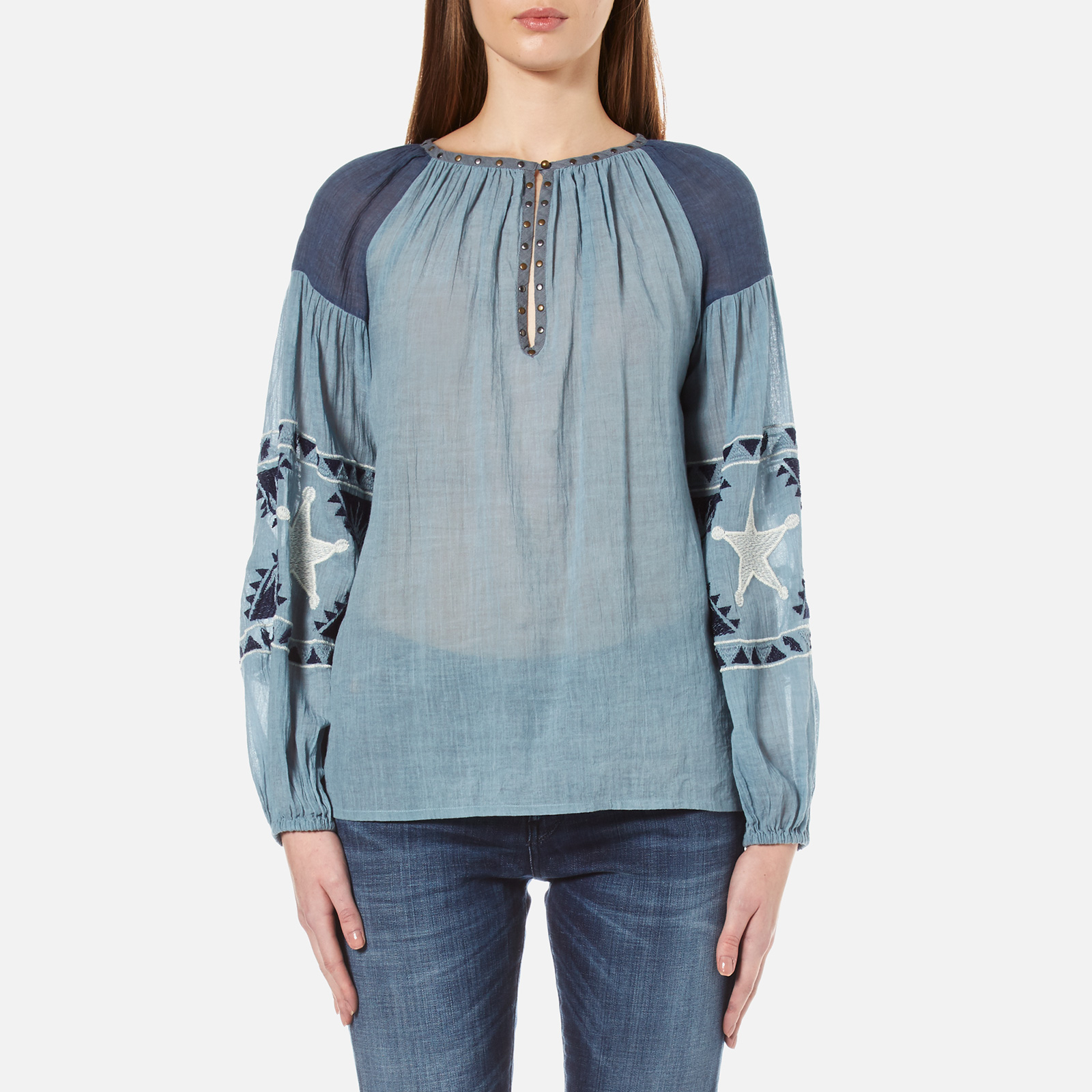 1a125001031 Maison Scotch Women's Sheer Cotton Tunic Top with Special Embroideries -  Blue - Free UK Delivery over £50