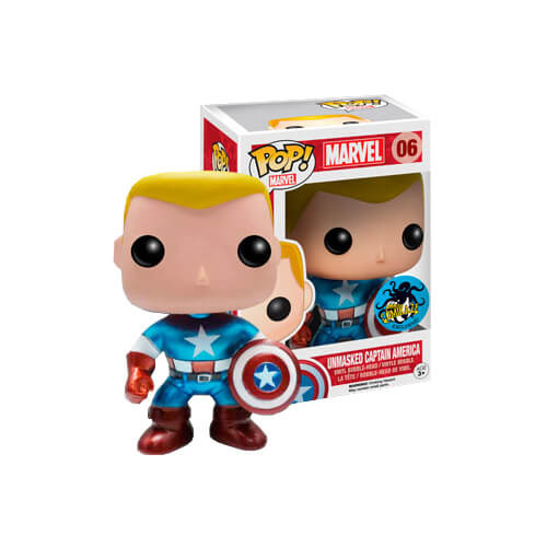 Funko Metallic Unmasked Captain America Pop! Vinyl