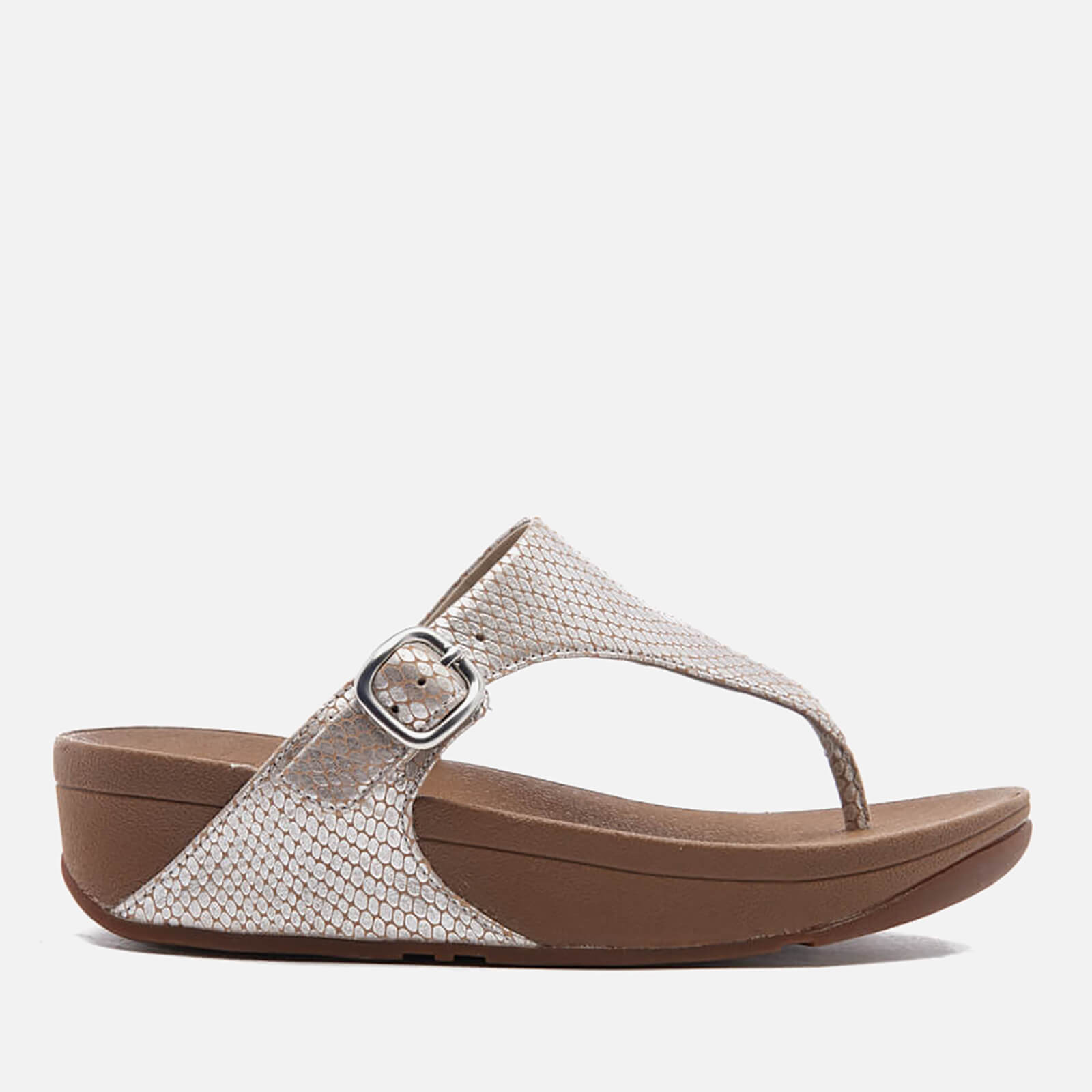 658eeff3b FitFlop Women s The Skinny Leather Toe-Post Sandals - Silver Snake Womens  Accessories