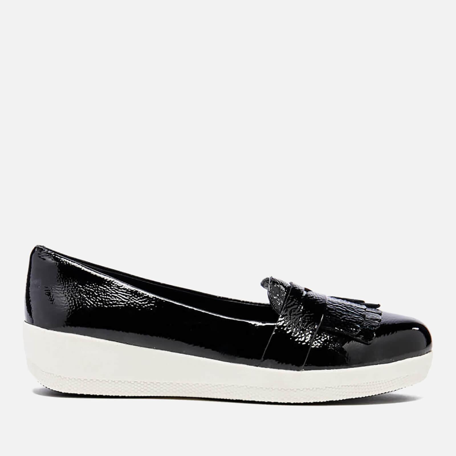 898aa45f9f8 FitFlop Women s Fringey Sneakerloafer Loafers - Black Patent Womens  Footwear