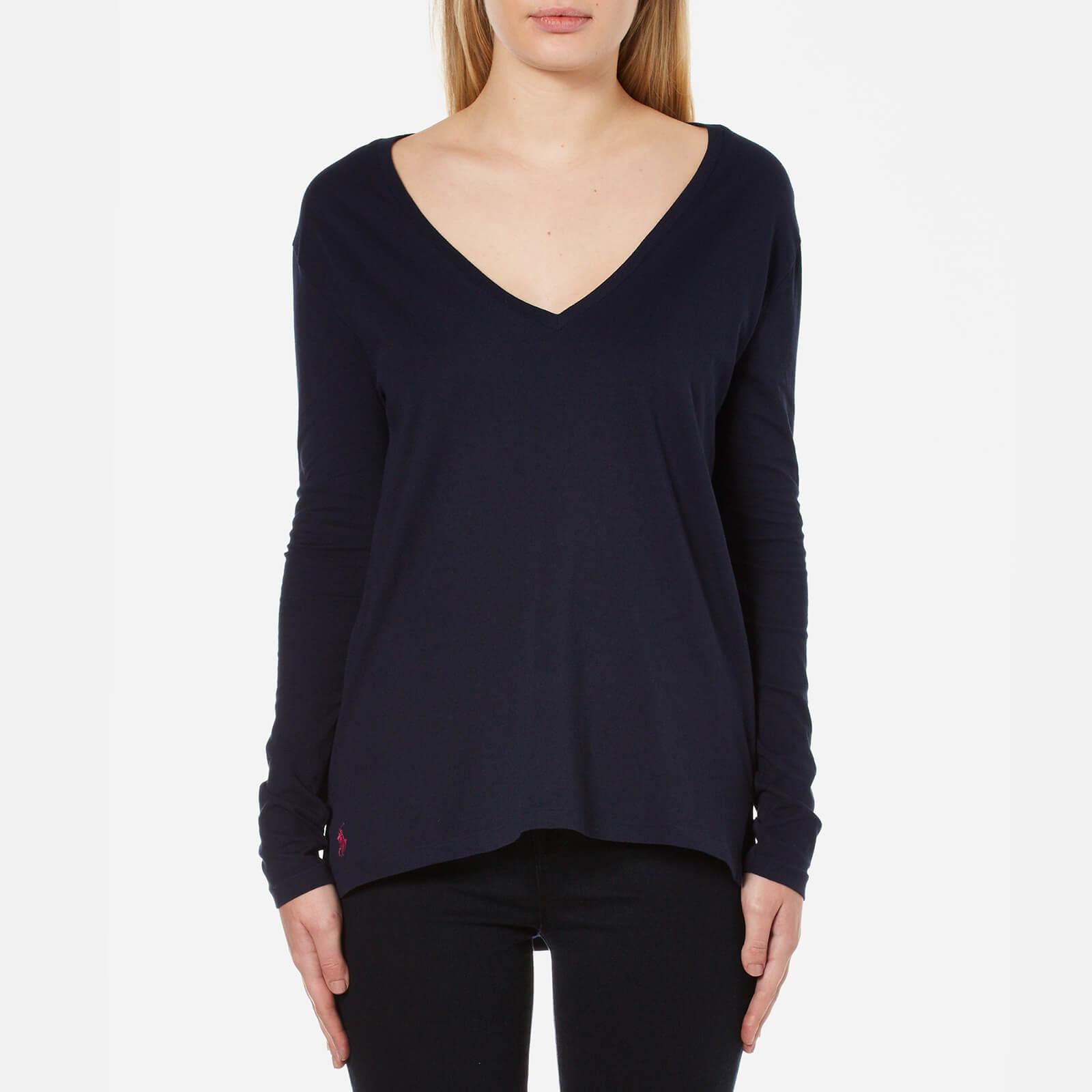 Polo Ralph Lauren Women s Long Sleeve V Neck T-Shirt - Hunter Navy - Free  UK Delivery over £50 3d56fbe44