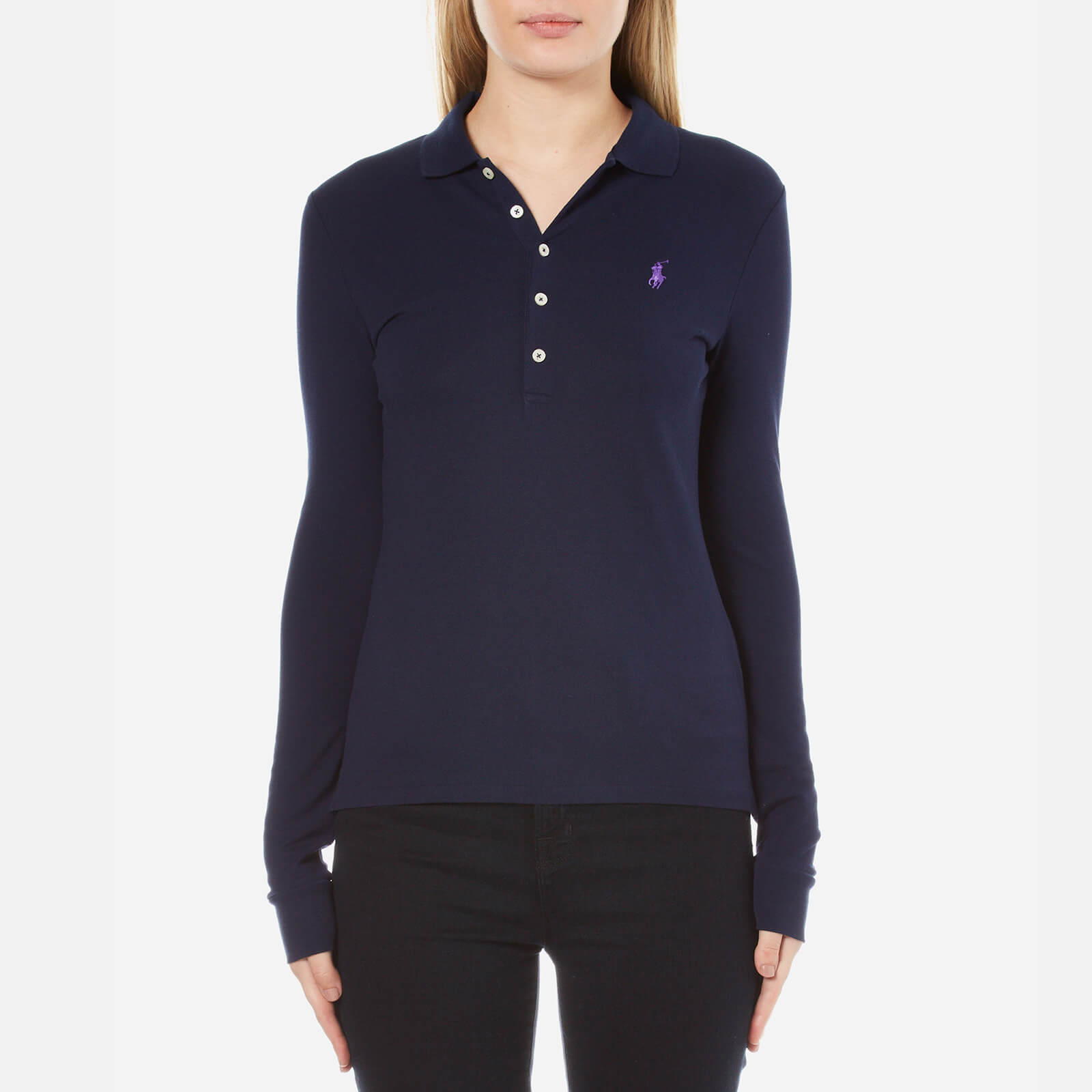 cbad7593befd Polo Ralph Lauren Women's Long Sleeve Julie Polo Shirt - Cruise Navy - Free  UK Delivery over £50