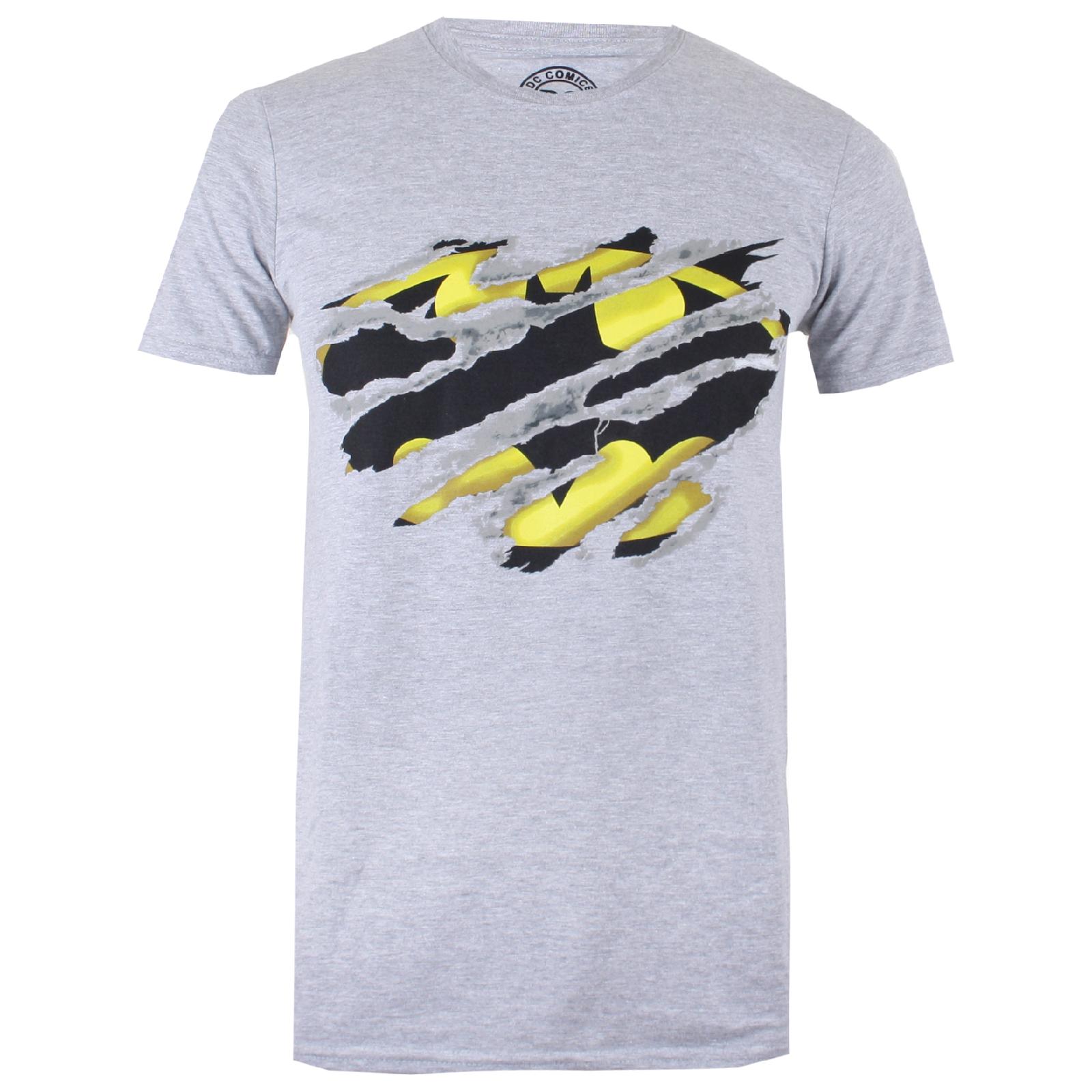 sports shoes 7c65e eb88c DC Comics Men's Batman Torn T-Shirtport Grey
