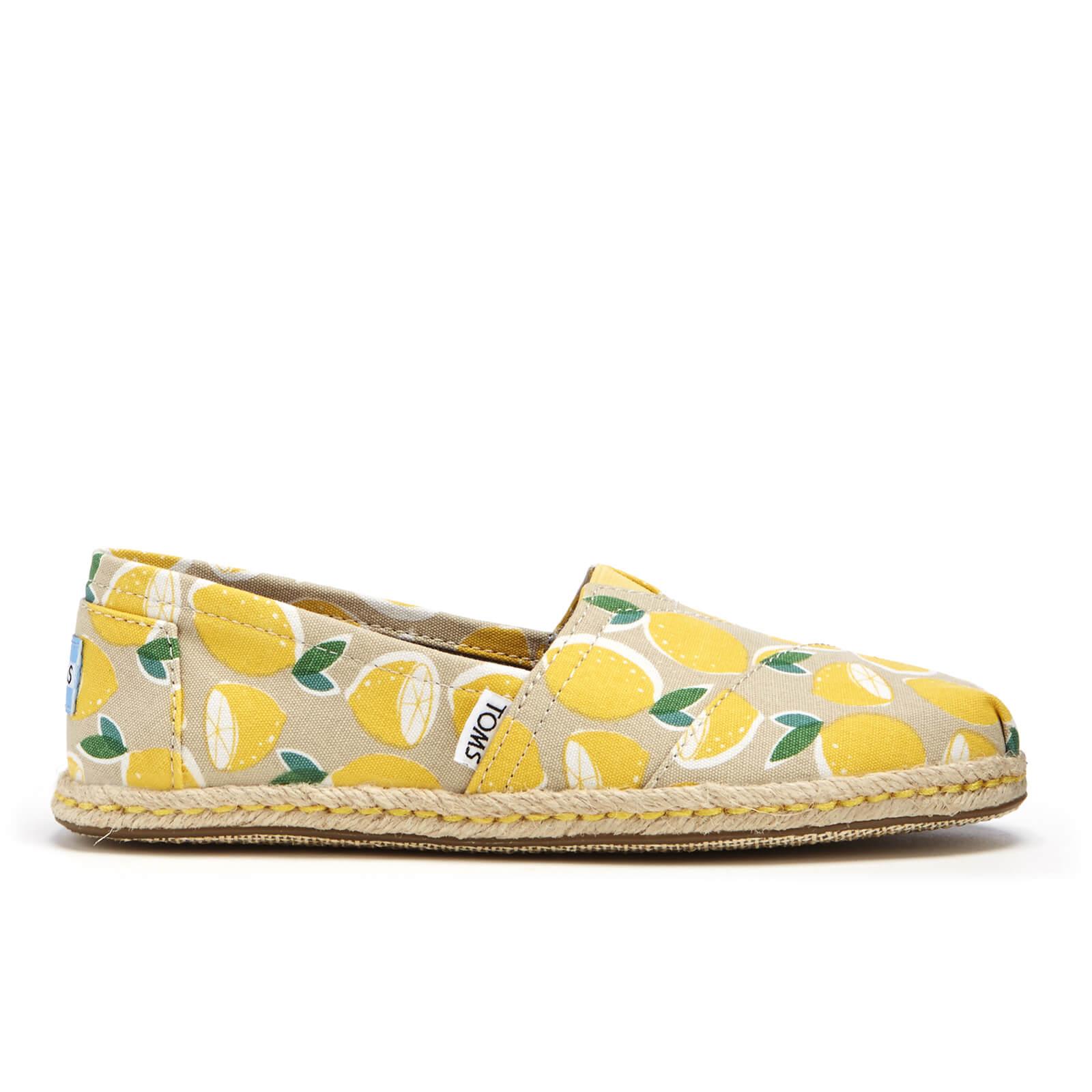 9338be6a0ca TOMS Women s Seasonal Classic Lemon s Slip-On Pumps - Yellow Lemons Rope  Sole Womens Footwear