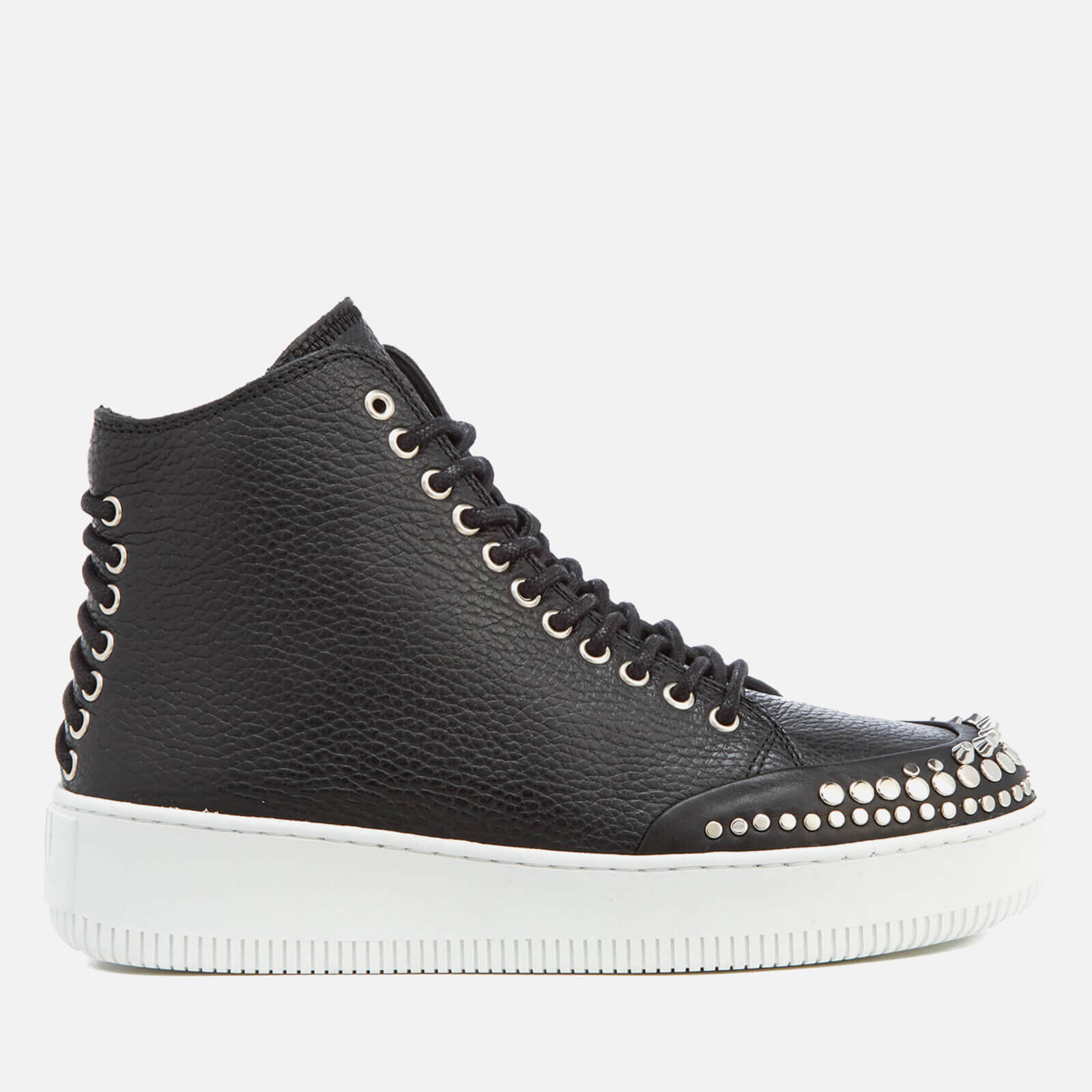 8dc5eedc3e81 ... McQ Alexander McQueen Women s Netil Laced Eyelets Leather Hi-Top  Trainers - Black
