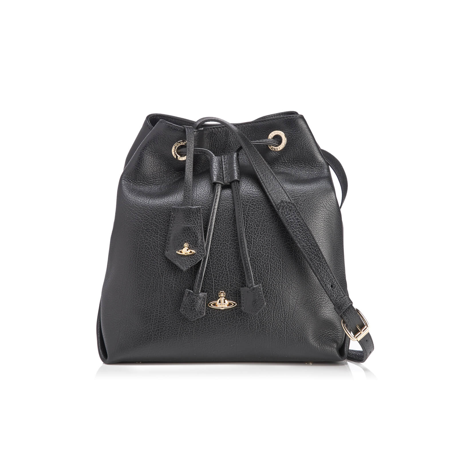 79285e1a153 Vivienne Westwood Women's Balmoral Grain Leather Bucket Bag - Black - Free  UK Delivery over £50