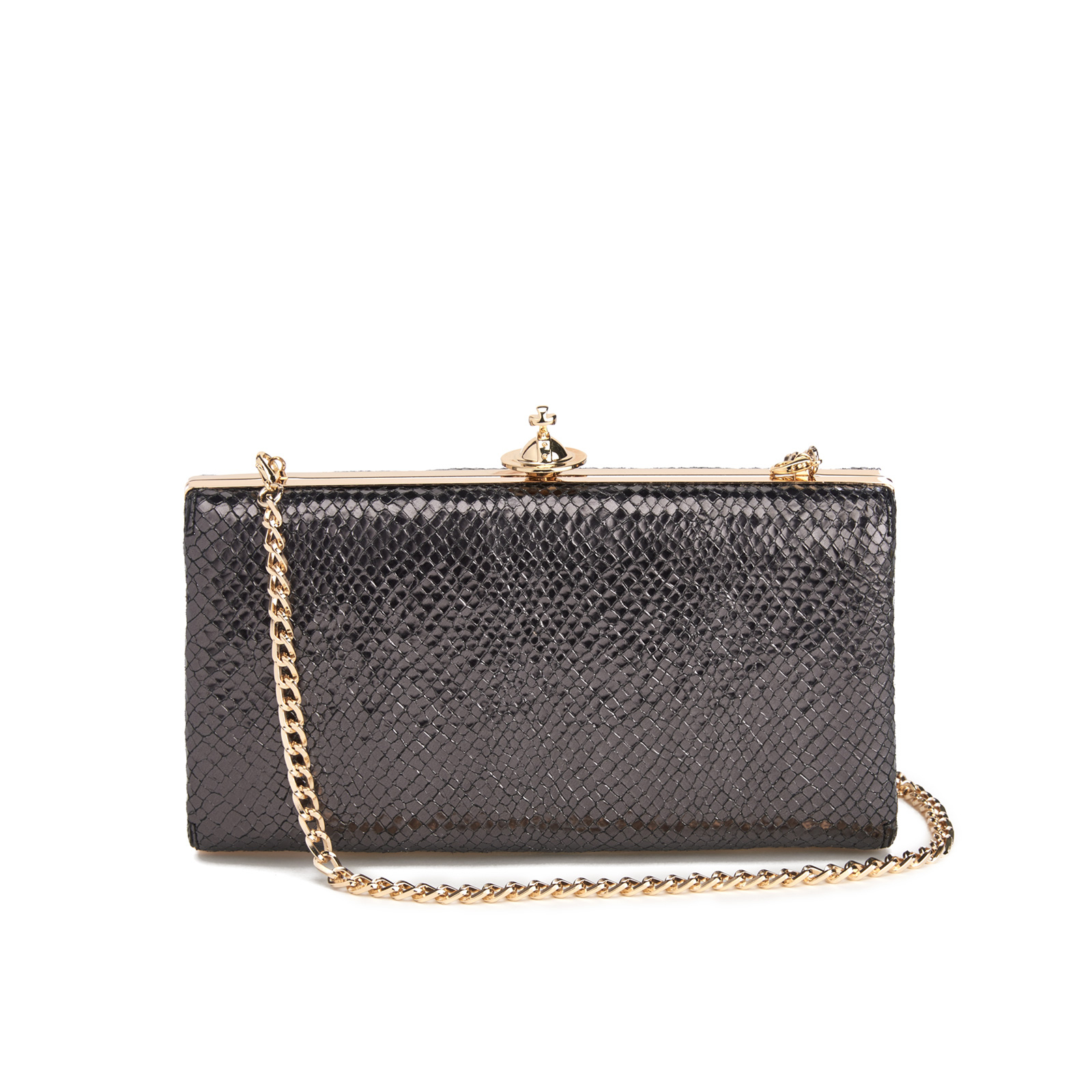 61aa34c2b0 Vivienne Westwood Women's Verona Metallic Leather Large Clutch Bag with  Chain - Black - Free UK Delivery over £50