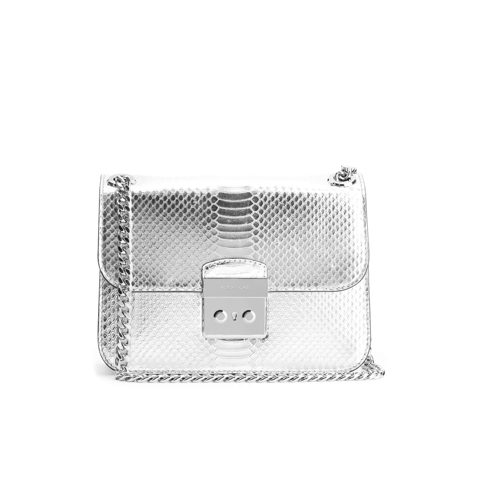 5494501253ebe MICHAEL MICHAEL KORS Women s Sloane Editor Mid Chain Python Shoulder Bag -  Silver - Free UK Delivery over £50