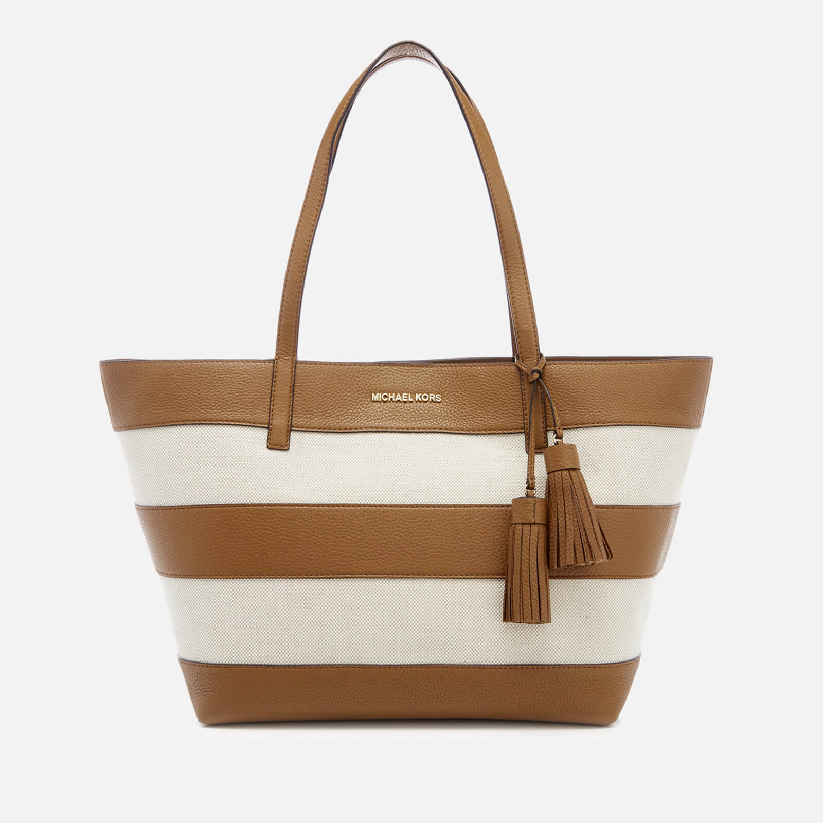 125ce30a4152 MICHAEL MICHAEL KORS Women's Striped Canvas Large East West Tote Bag -  Natural/Acorn - Free UK Delivery over £50