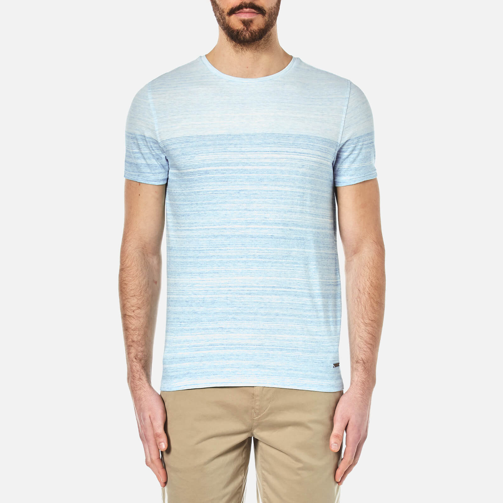 c8c373632 BOSS Orange Men's Trumble Striped T-Shirt - Bright Blue - Free UK Delivery  over £50